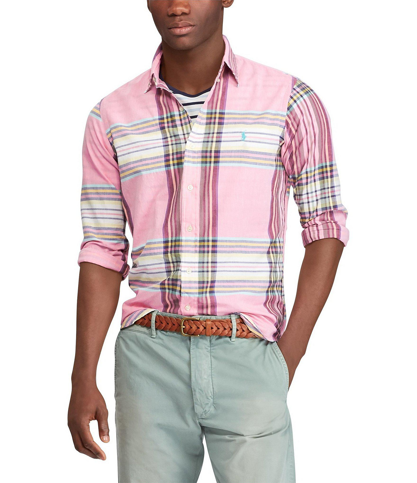 99619d39 Polo Ralph Lauren Madras Long-sleeve Woven Shirt in Pink for Men - Lyst