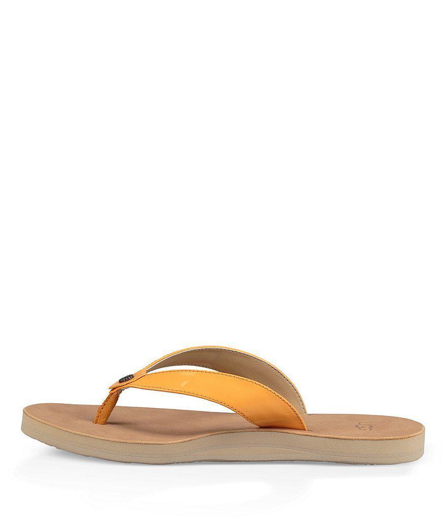 Tawney Patent Leather Flip-Flops INJ6y