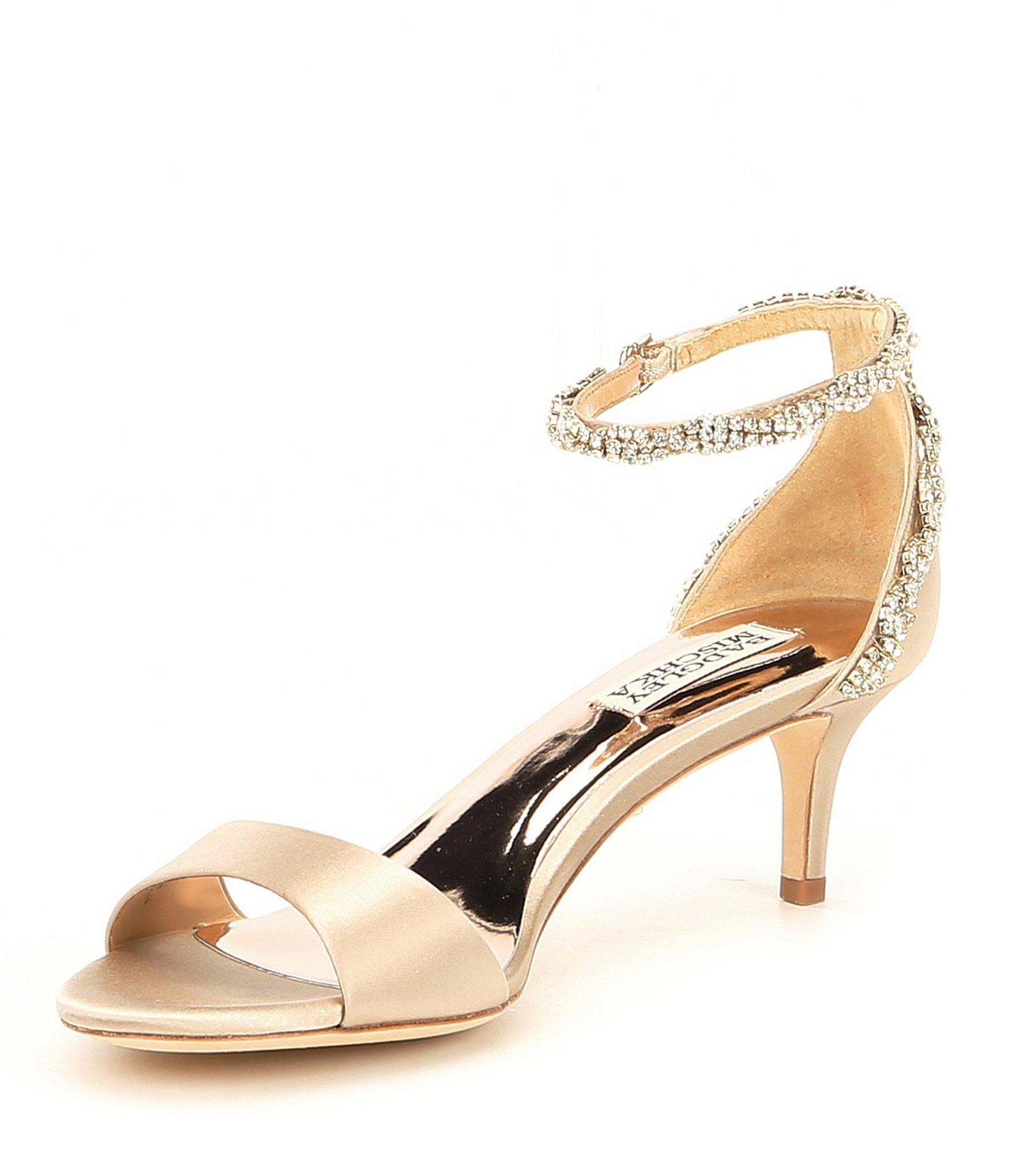 bf6b5a90bbb Lyst - Badgley Mischka Yareli Rhinestone Jeweled Satin Ankle Strap ...