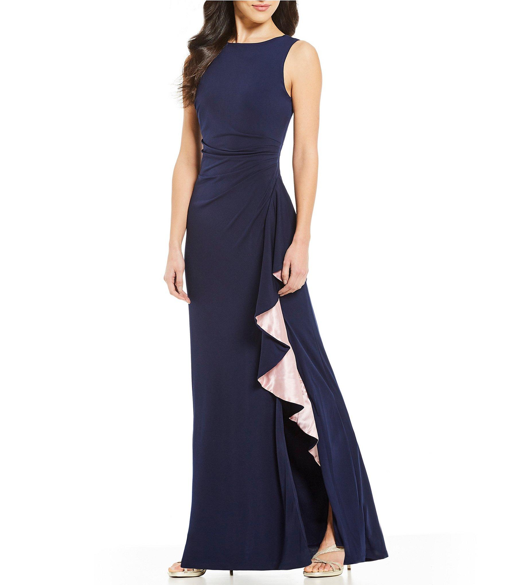 49b74ac2a57 Marina - Blue Sleeveless Two-toned Ruffle Cascade Gown - Lyst. View  fullscreen