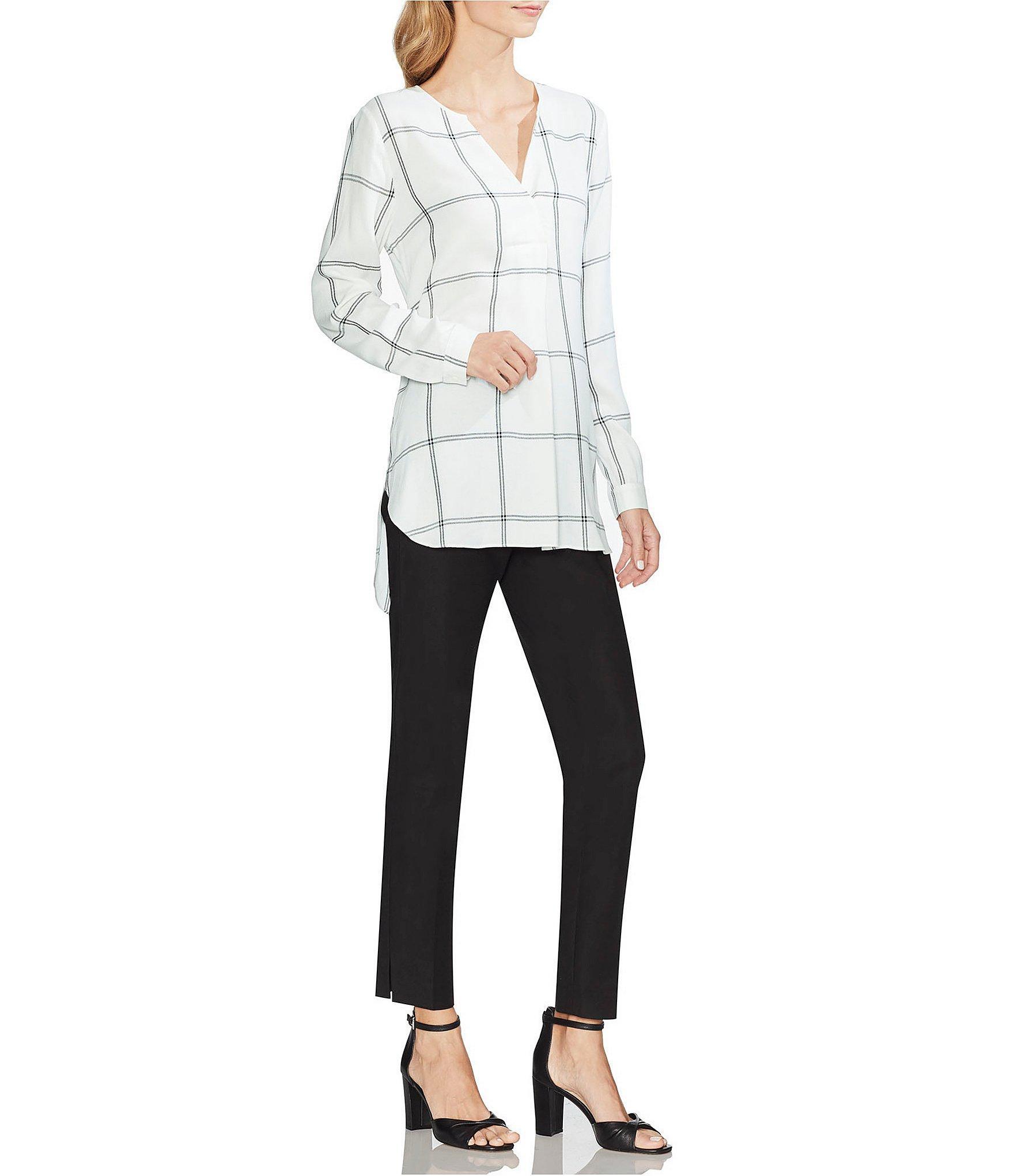 6d388fdb3fc86 Vince Camuto - White Long Sleeve Windowpane Striped Split Neck Tunic Blouse  - Lyst. View fullscreen
