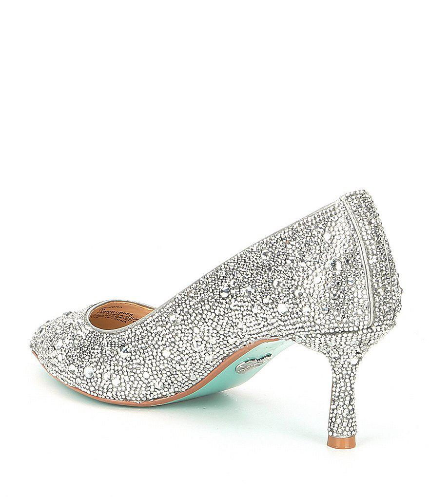 Betsey Johnson Blue by Betsey Johnson Jora Glitter Jeweled Kitten Heel Pumps lo4u8esFt