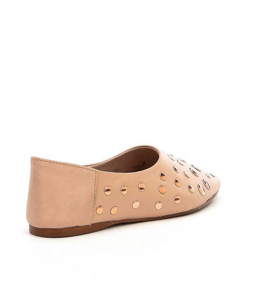 Naughty Monkey Hariette Studded Leather and Suede Flats 2CNrIAp