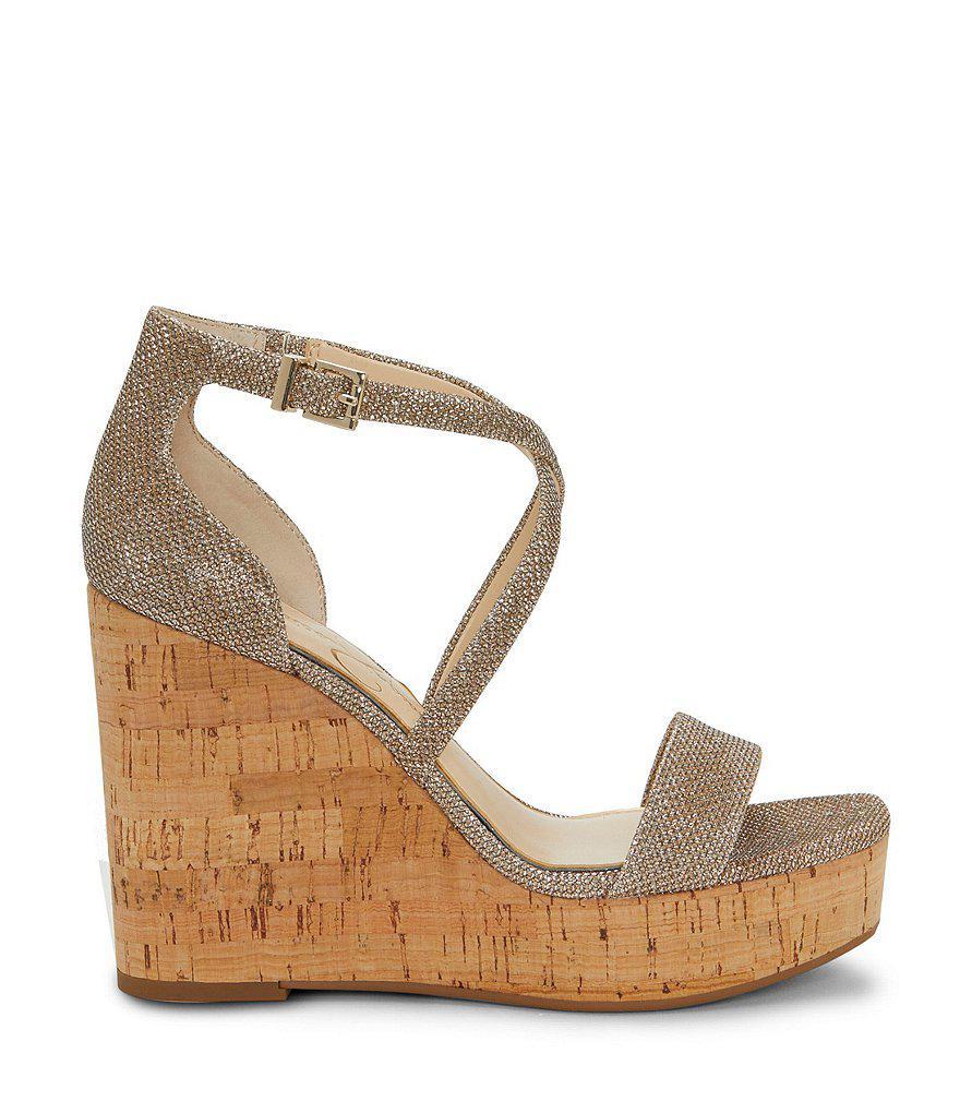 Jessica Simpson Stassi Gold Textile Banded Cork Wedges Qf1FvVq