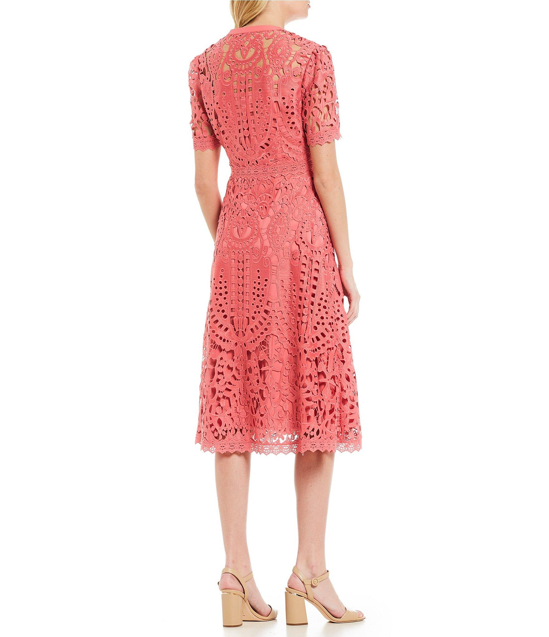 f3659d4a020 Antonio Melani Ada High Neck Lace A-line Midi Dress in Pink - Lyst