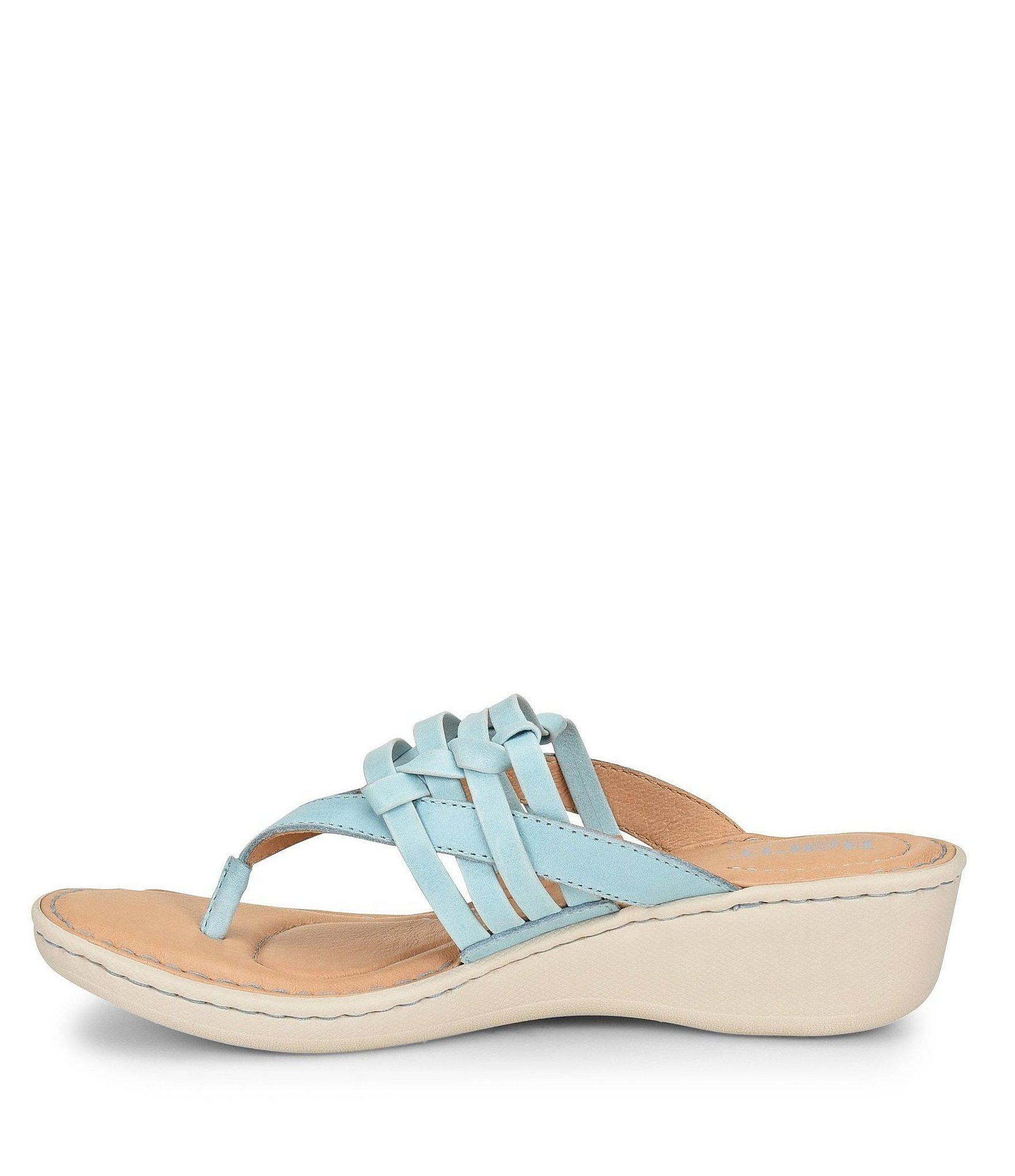 26987a010b53 Lyst - Born Tansey Thong Slide Wedge Sandals in Blue