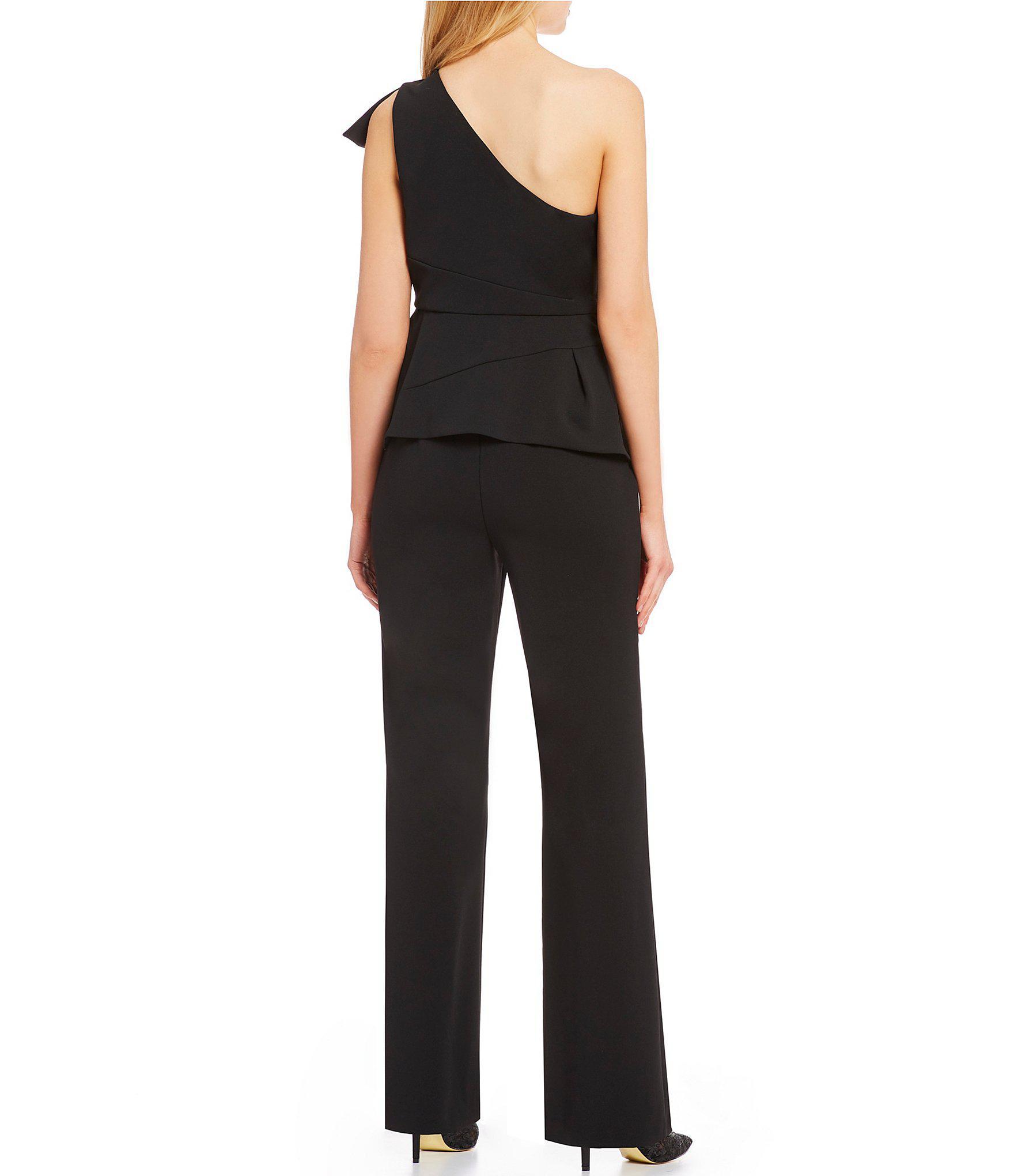 f0dc8d5618e3 Adrianna Papell - Black Petite Size One Shoulder Ruffle Jumpsuit - Lyst.  View fullscreen