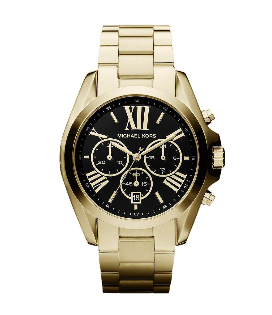 c292a8270571 Michael Kors - Black Bradshaw Plated Stainless Steel 3 Hand Chronograph  Watch for Men - Lyst. View fullscreen