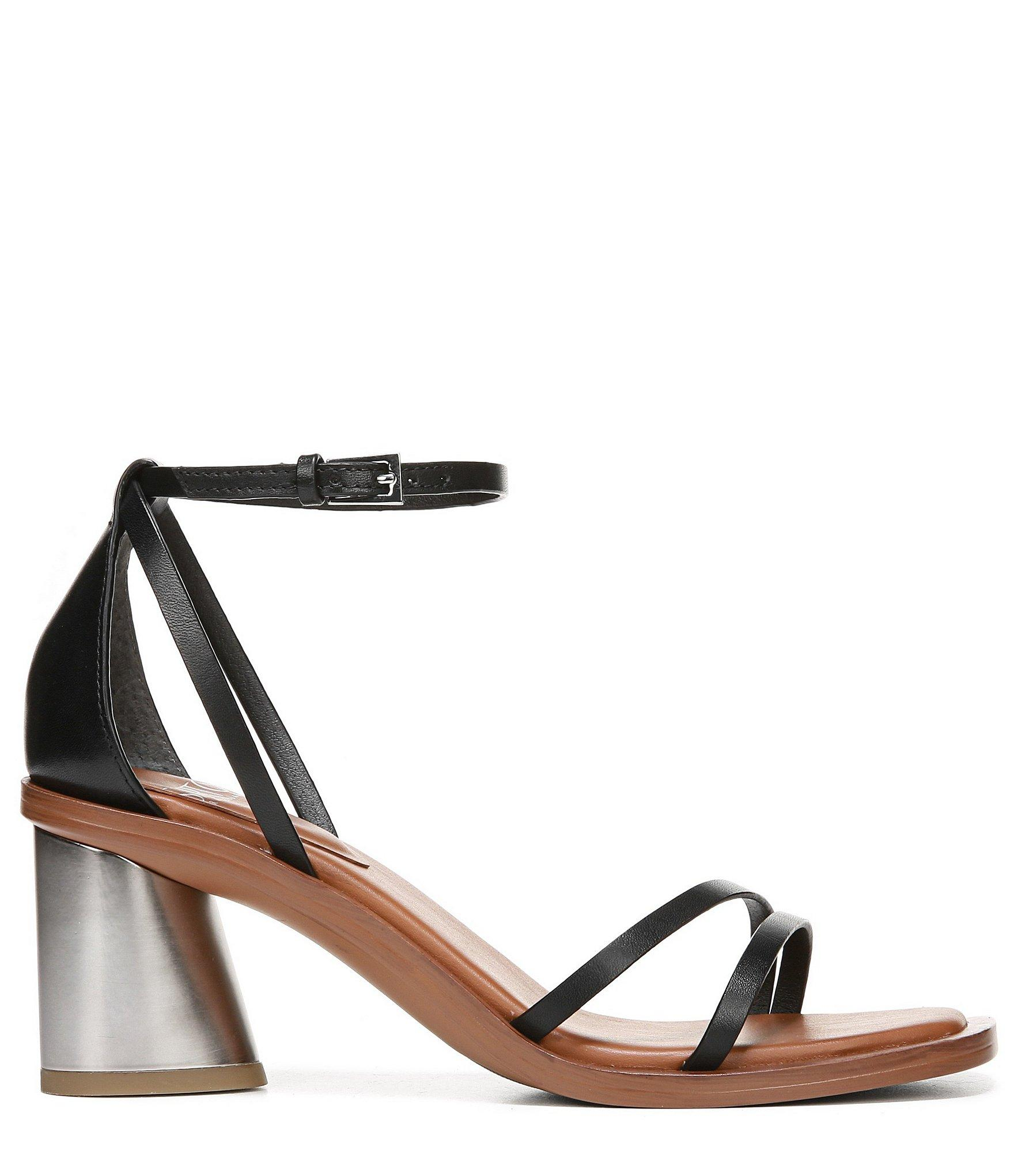 cafde29a2b8 Franco Sarto - Black Sarto By Ronelle Leather Block Heel Sandals - Lyst.  View fullscreen