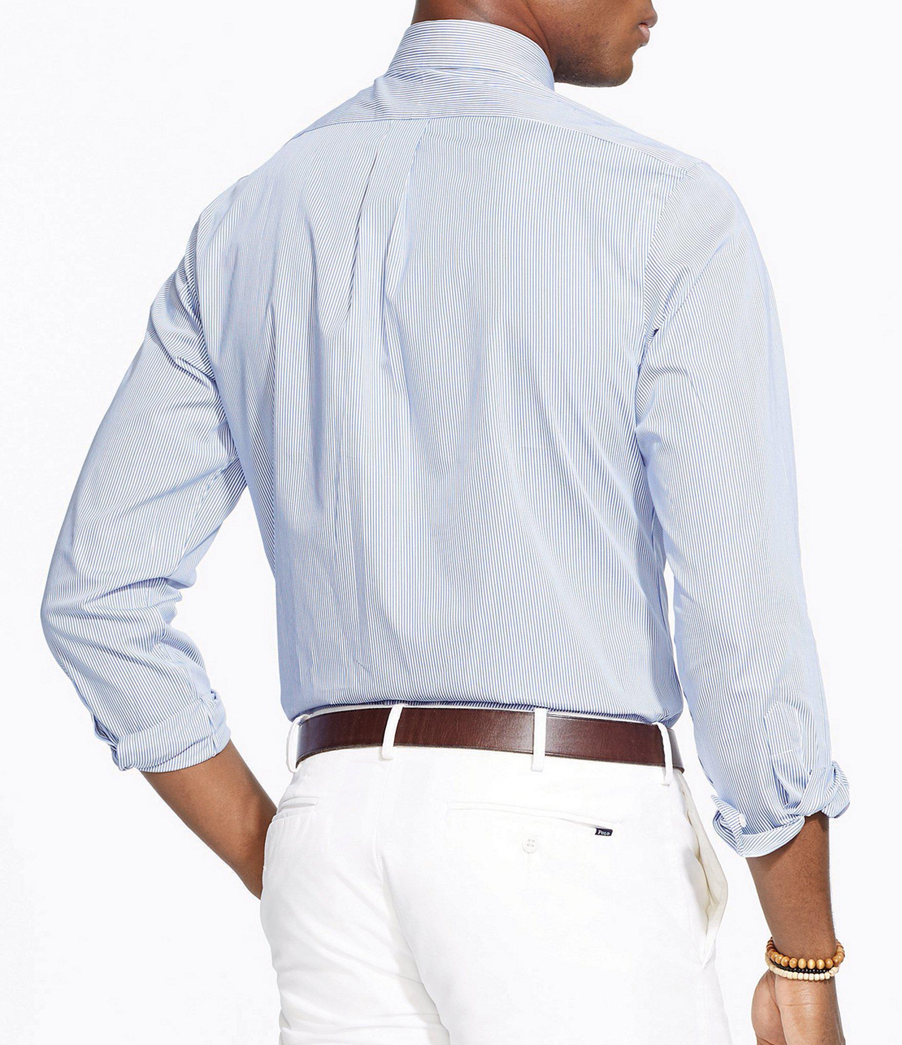 cadec7416580b Polo Ralph Lauren - Blue Hairline-striped Poplin Shirt for Men - Lyst. View  fullscreen