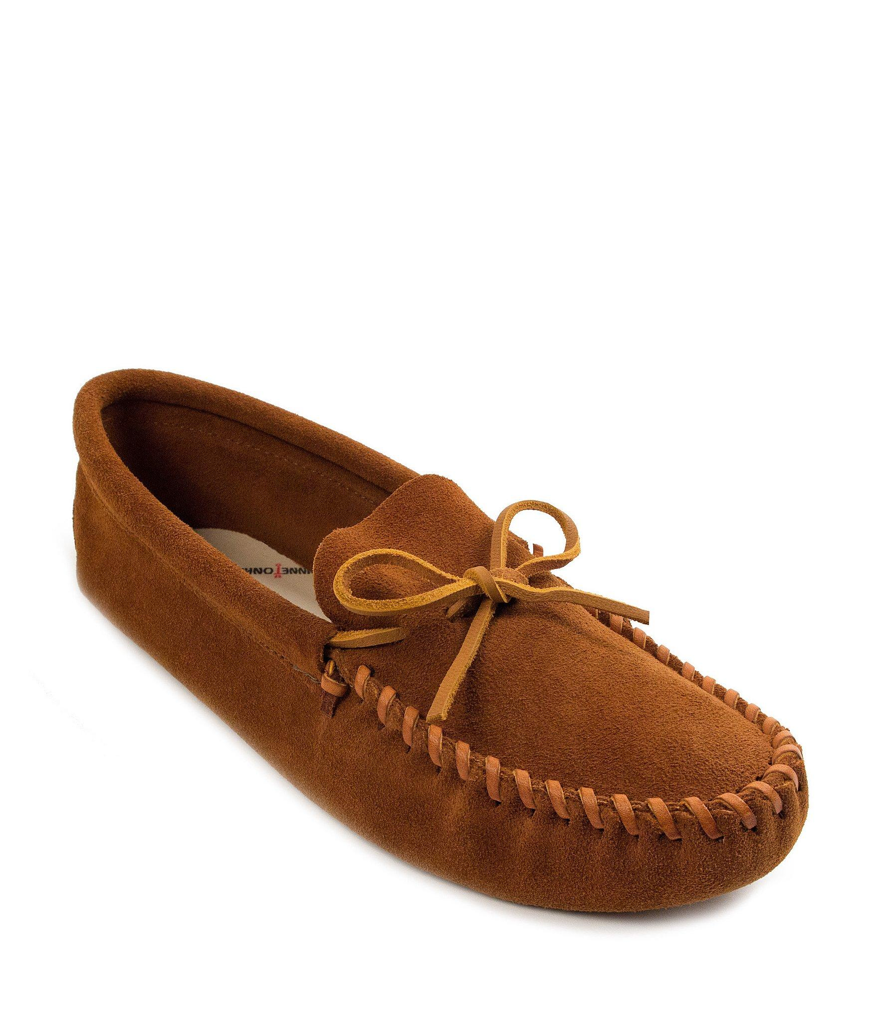 2d9654b91 Lyst - Minnetonka Men s Leather Laced Softsole Slipper in Brown for Men