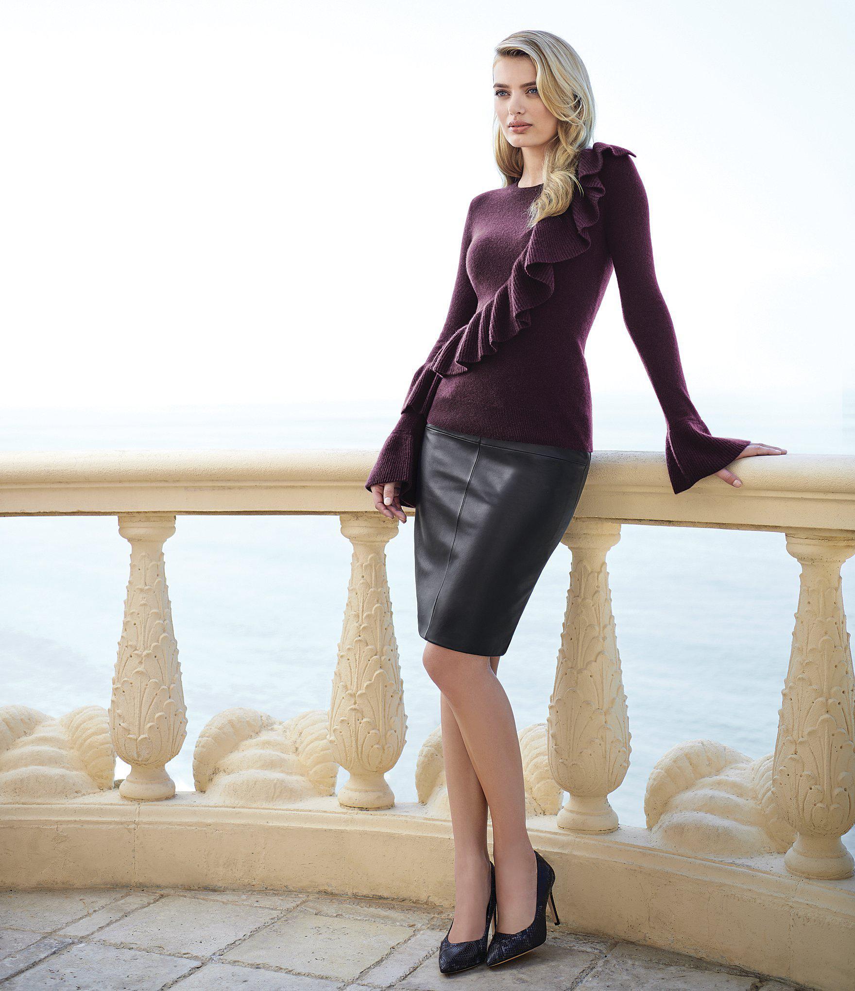 b526c0ea97d Lyst - Antonio Melani Luxury Collection Adrienne Cashmere Ruffle ...