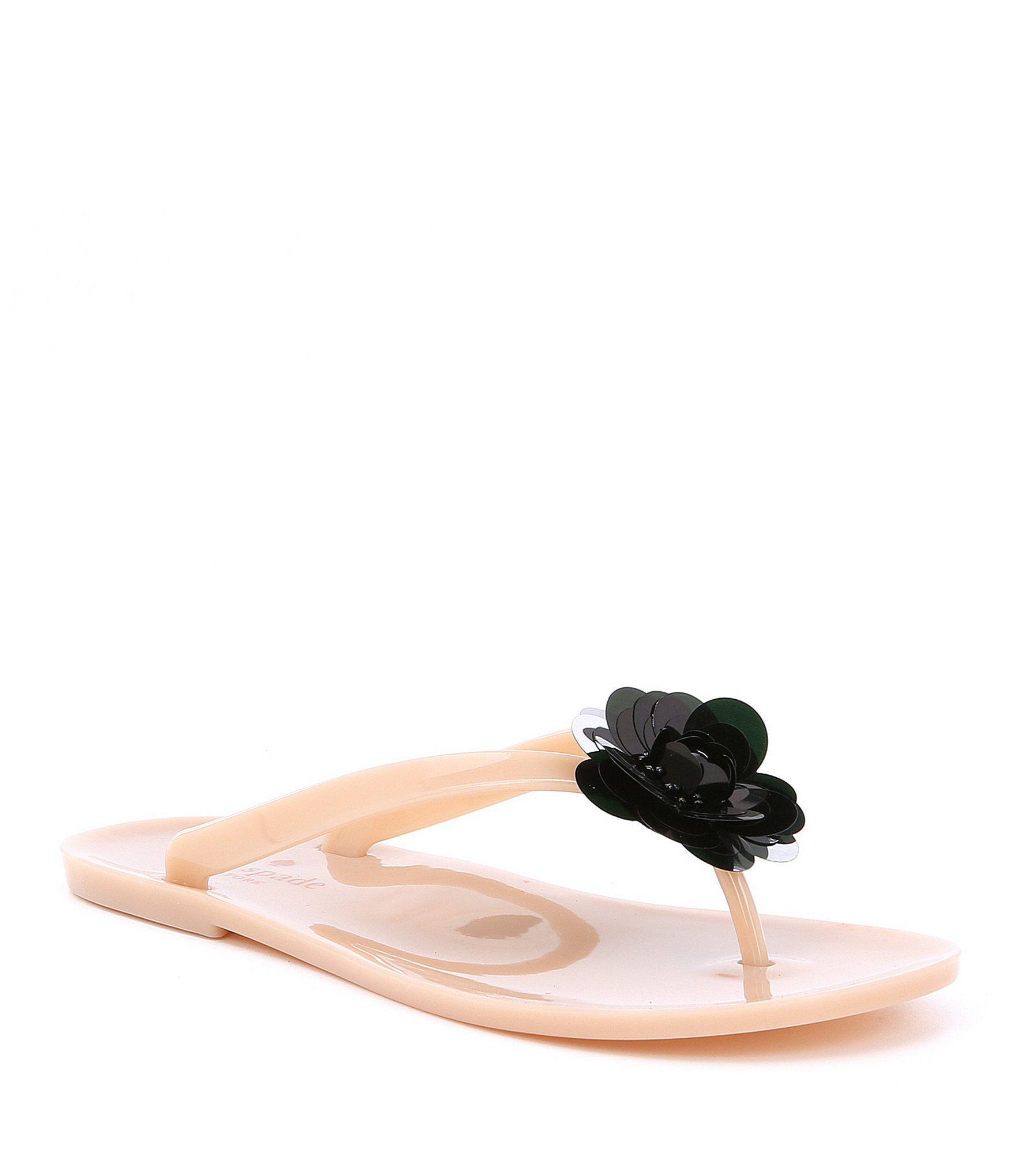 5ce232024154 Lyst - Kate Spade Fiorina Flower Jelly Flip Flops in Pink