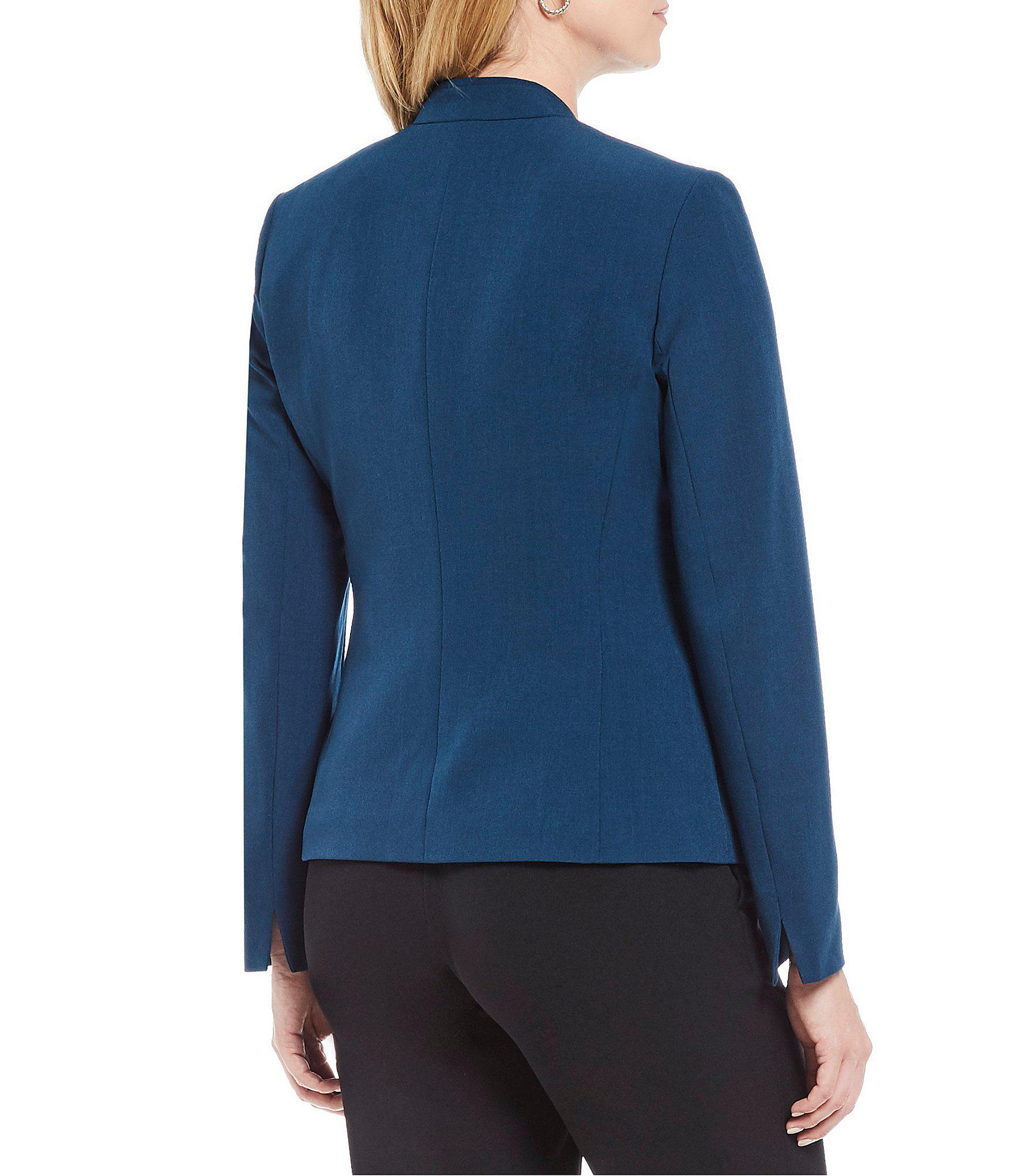 0493074e2d5 Kasper - Blue Stretch Crepe Stand Collar Jacket - Lyst. View fullscreen