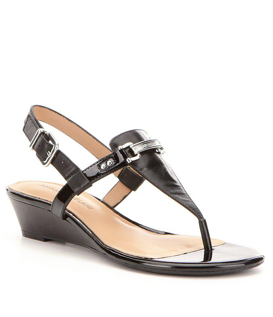 bd9259703c0 Lyst - Antonio Melani Amirah Leather Thong Wedge Sandals in Black