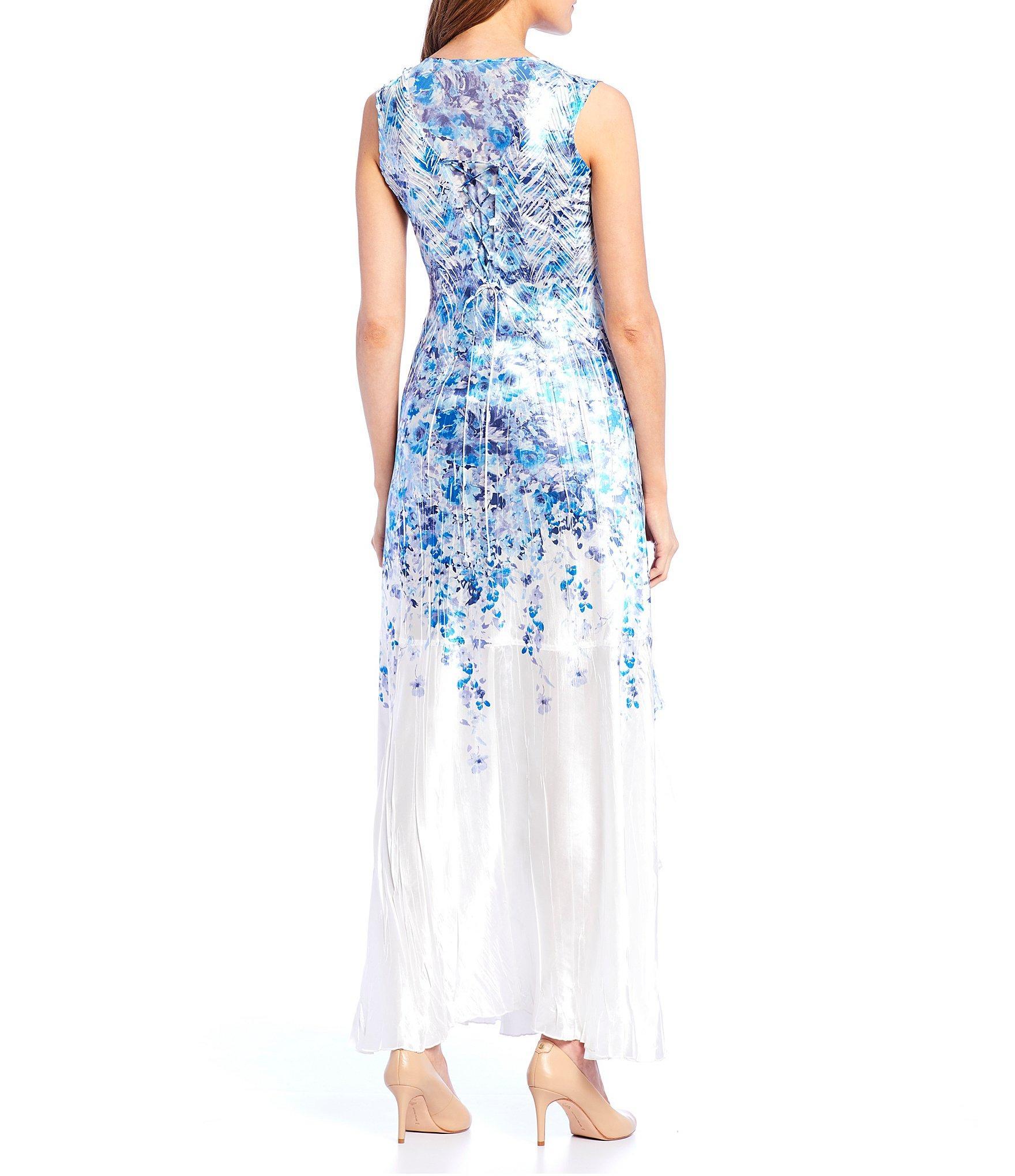 fac7d66b8eb Lyst - Komarov V-neck Floral Sleeveless Dress in Blue