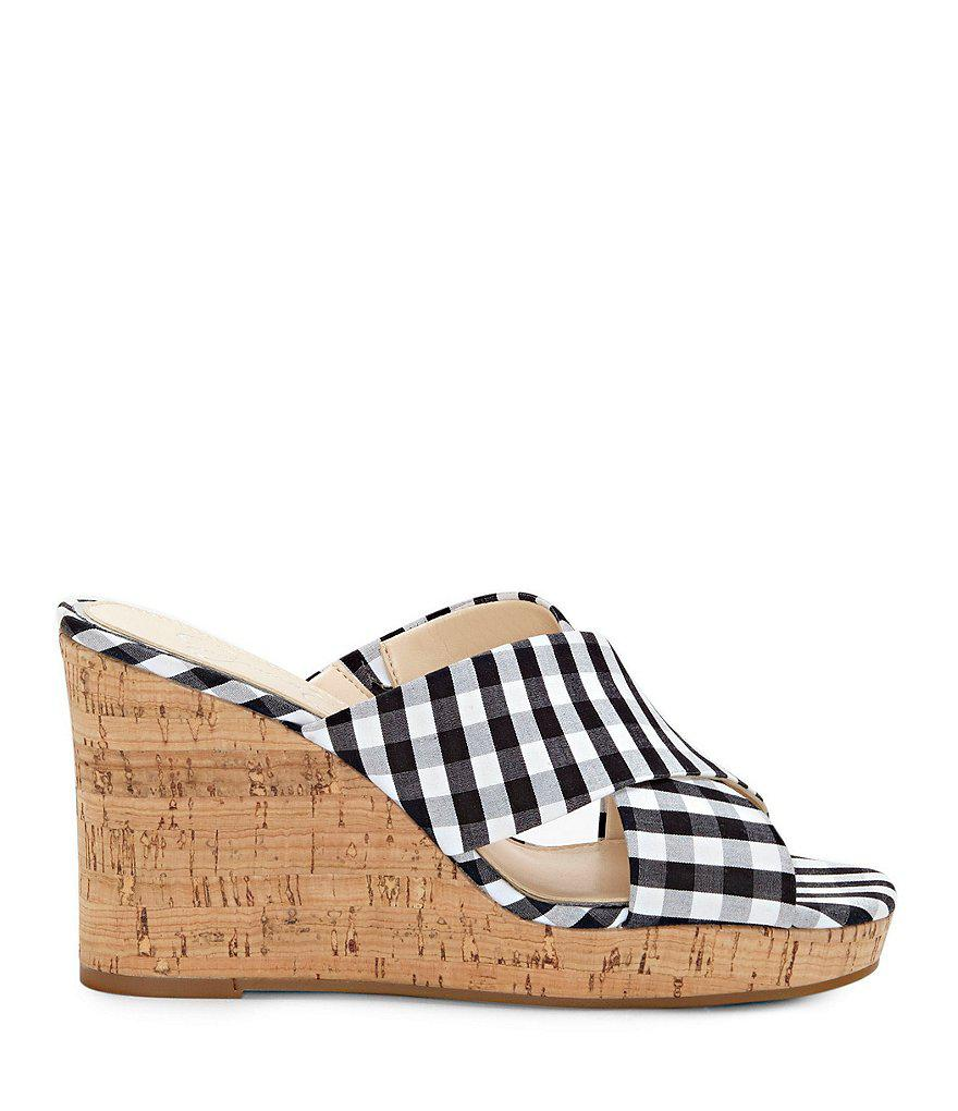 Jessica Simpson Seena Gingham Wedge Sandals h2DTH1X02r