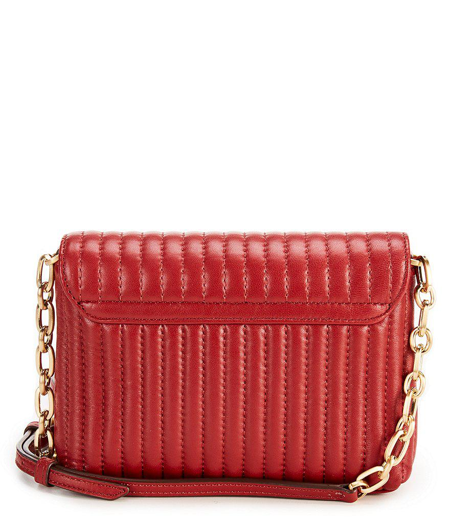 aa79136be Donna Karan Pinstripe Quilted Mini Cross-body Bag in Red - Lyst