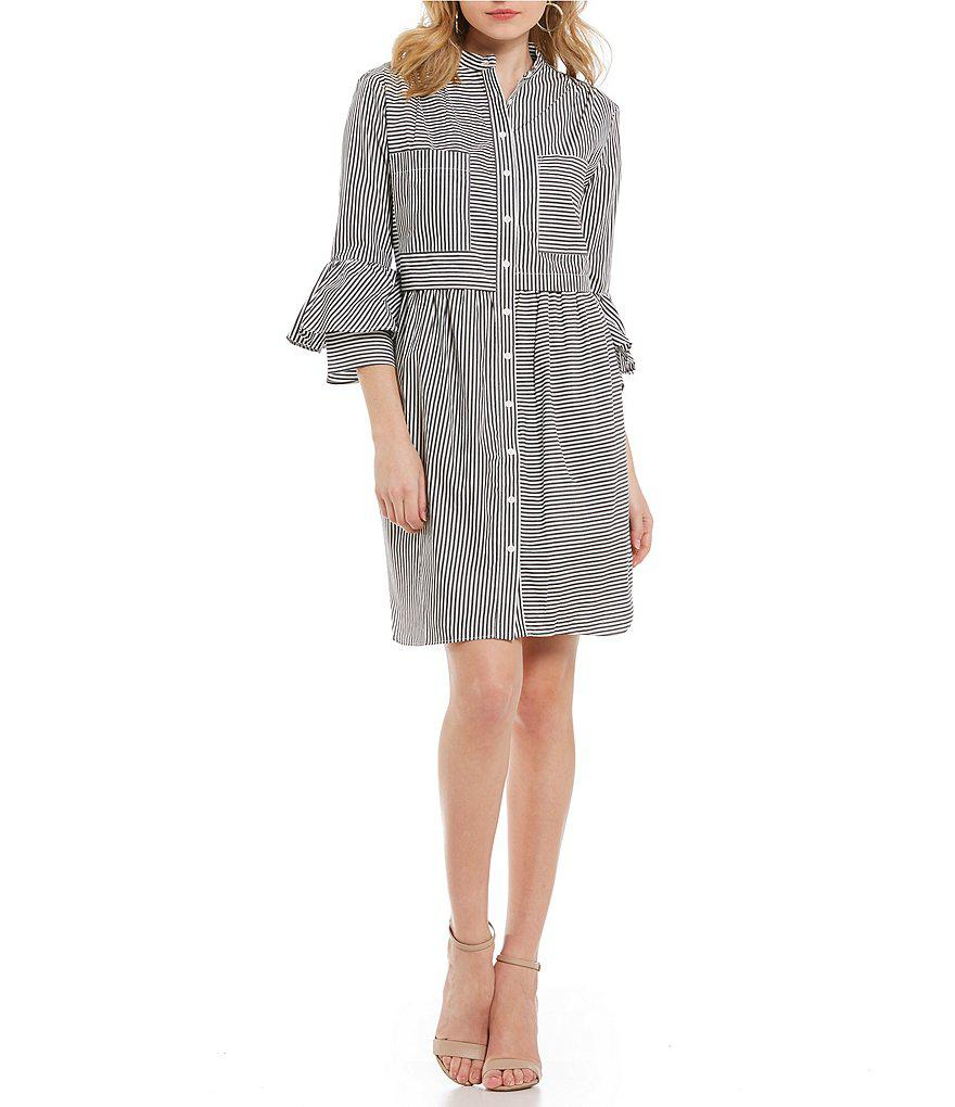 be7d35fd French Connection Summer Stripe Button Down Oversized Shirt Dress in ...