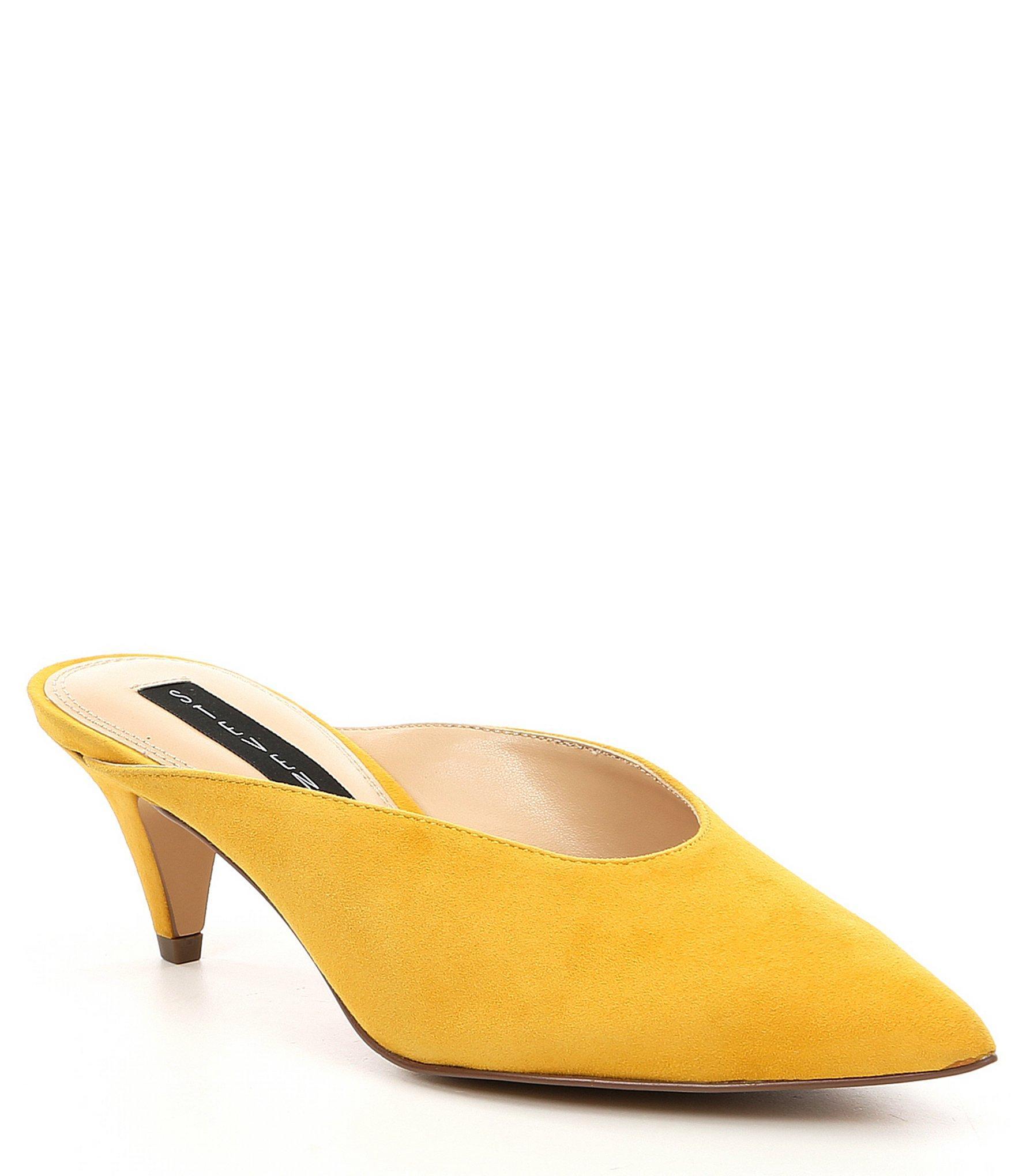 f518c4b864 Steve Madden Steven By Elora Suede Kitten Heel Mules in Yellow - Lyst