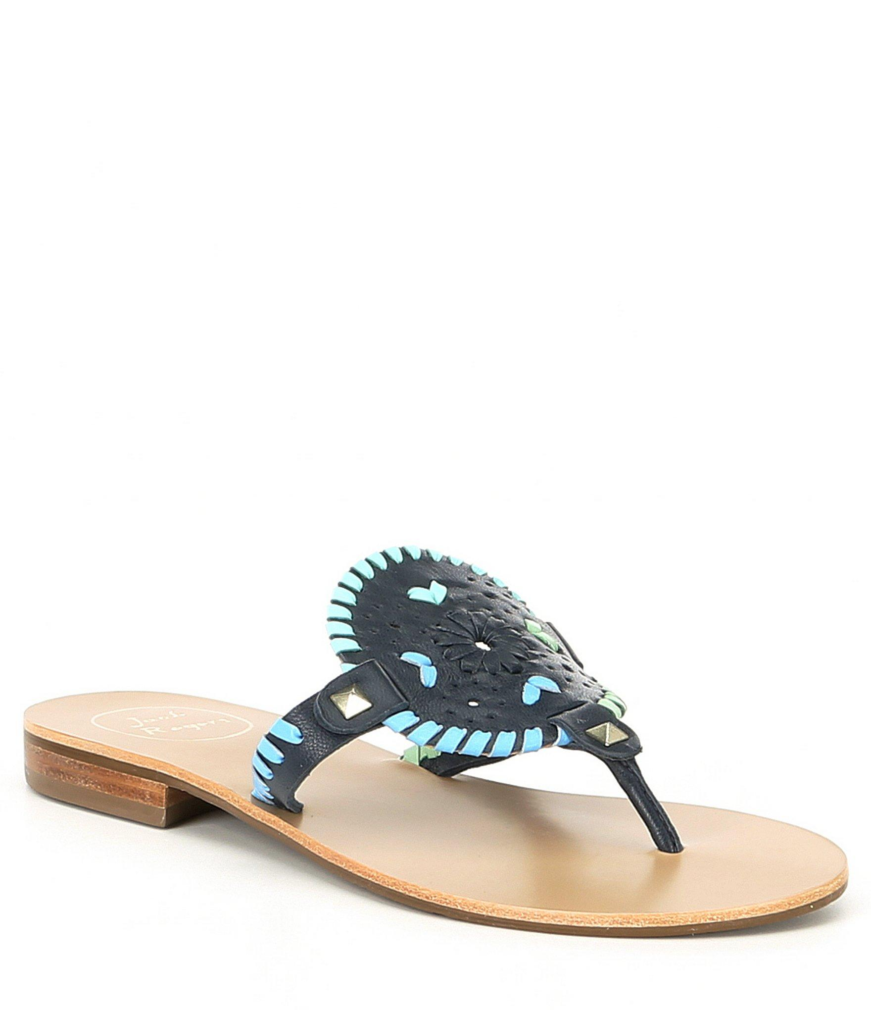 65c264a5b6eb Lyst - Jack Rogers Georgica Studded Leather Sandals in Blue