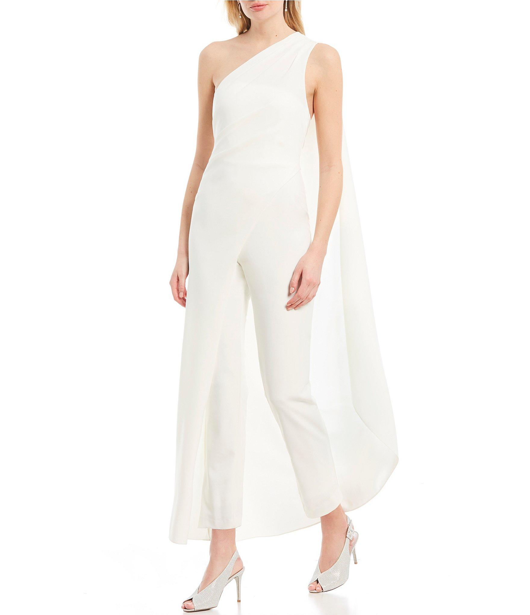 1b01c59b1cb Lyst - Adrianna Papell Drapped One Shoulder Crepe Jumpsuit in White