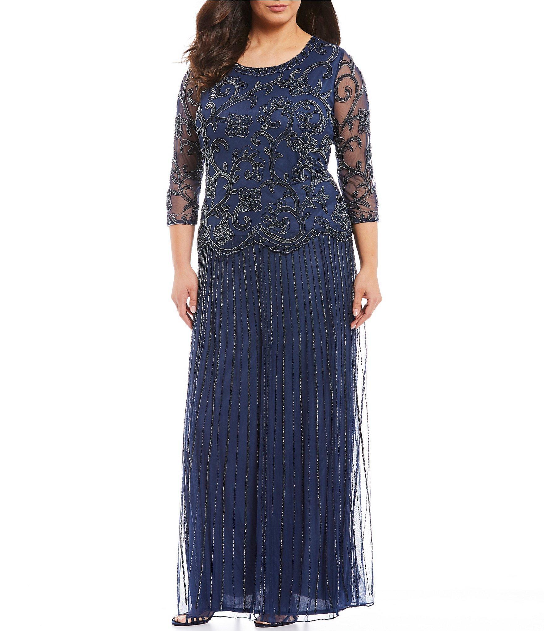 5e36c0a4773 Lyst - Pisarro Nights Plus Size Beaded Mock Two-piece Dress in Blue