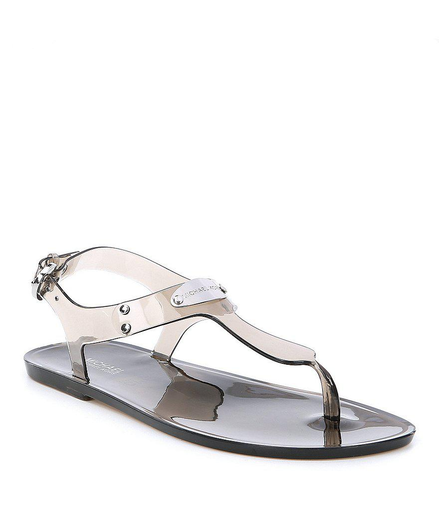 a5643a575dd Lyst - MICHAEL Michael Kors Mk Plate Jelly Sandals in Pink