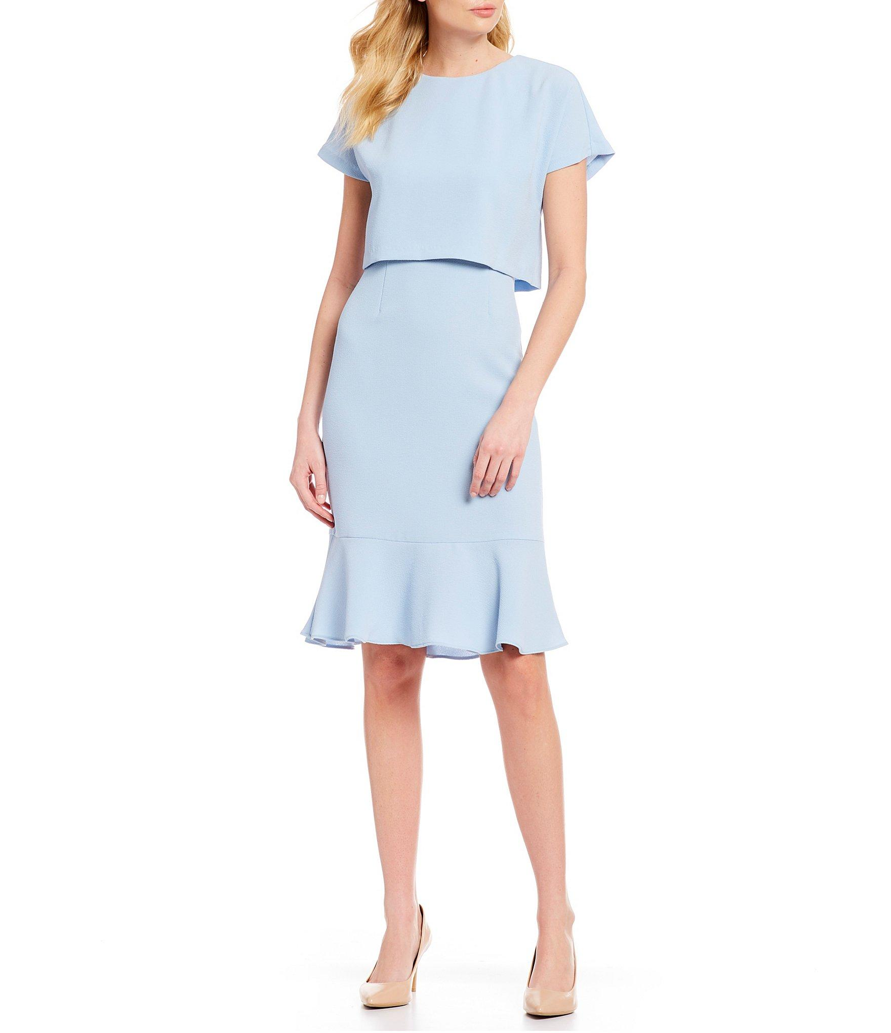 9a6d76654c2 Lyst - Adrianna Papell Popover Flounce Sheath Dress in Blue