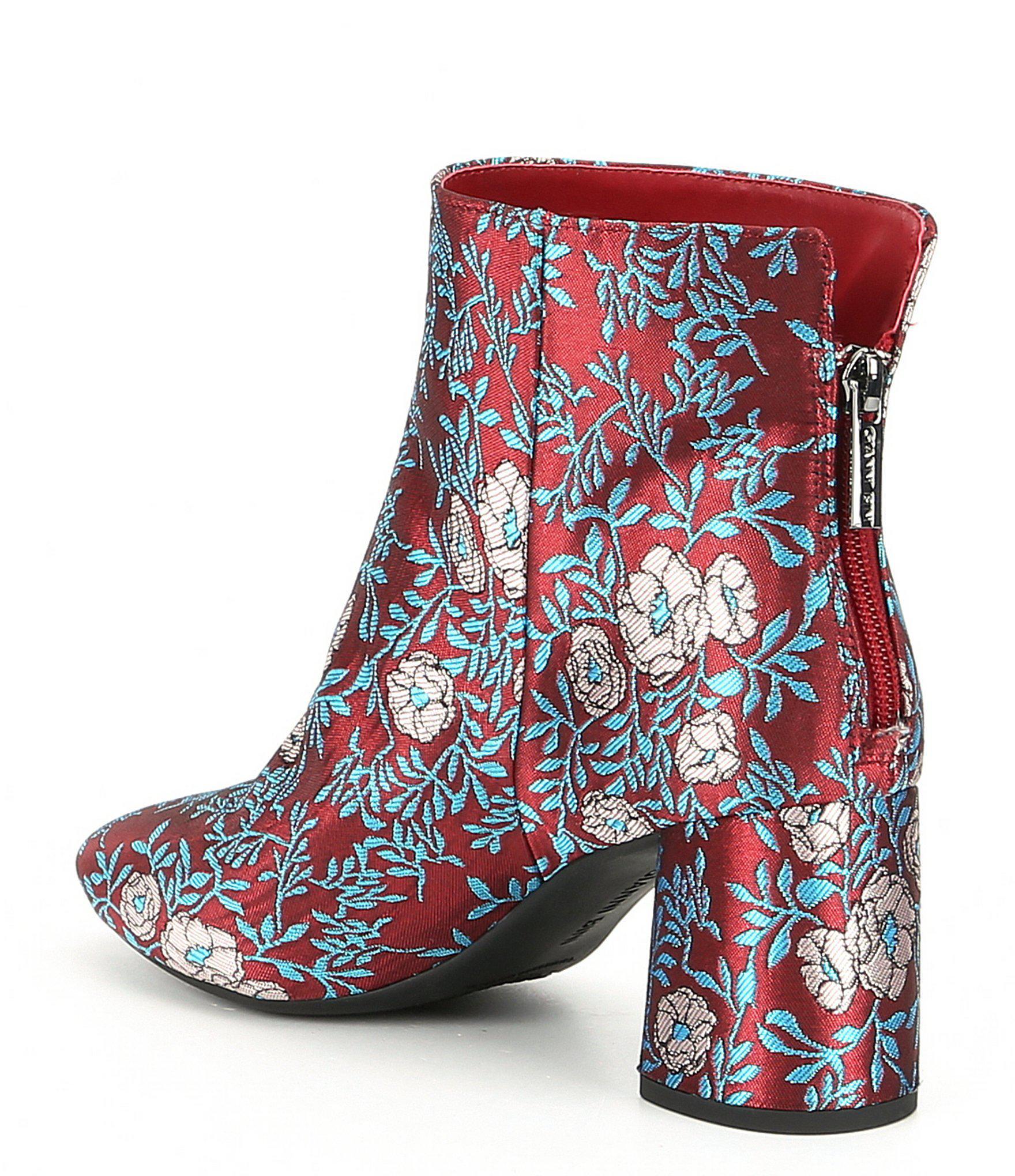 e34c62ddd29 Gianni Bini Catalano Brocade Fabric Block Heel Booties in Blue - Lyst