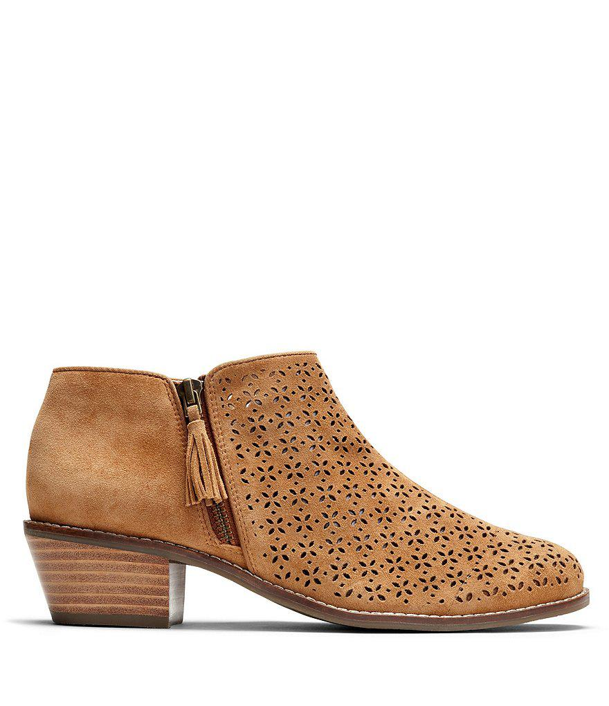 Daytona Perforated Suede Block Heel Ankle Boots svLxFbZ2kq