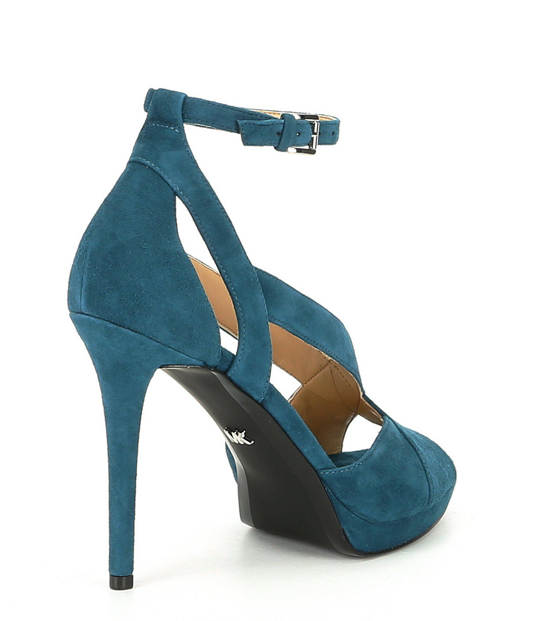 150cb36ce20 Lyst - MICHAEL Michael Kors Becky Suede Ankle Strap Sandals in Blue