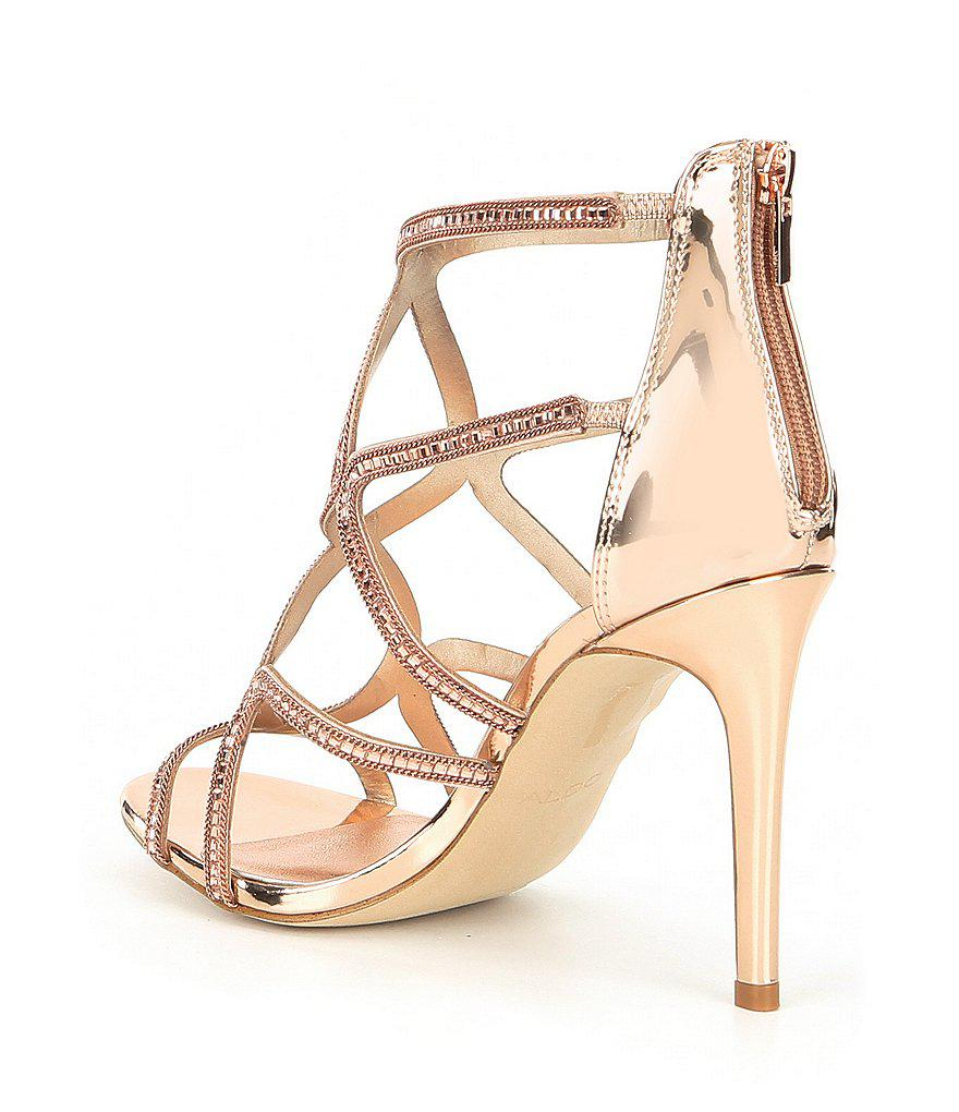 Asteicia Caged Rhinestone Strappy Dress Sandals ZTplB3GWNK