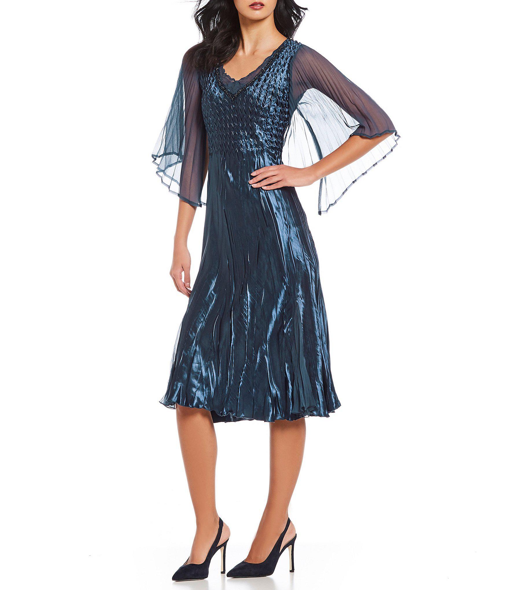17e64a8942 Komarov V-neck Sheer Sleeve Beaded Midi Dress in Blue - Lyst