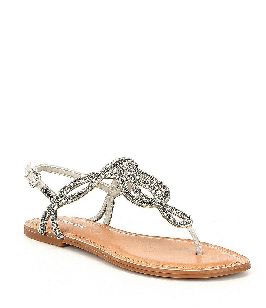 13016e02a9be Lyst - Gianni Bini Starlitez Jeweled Nubuck Flat Sandals