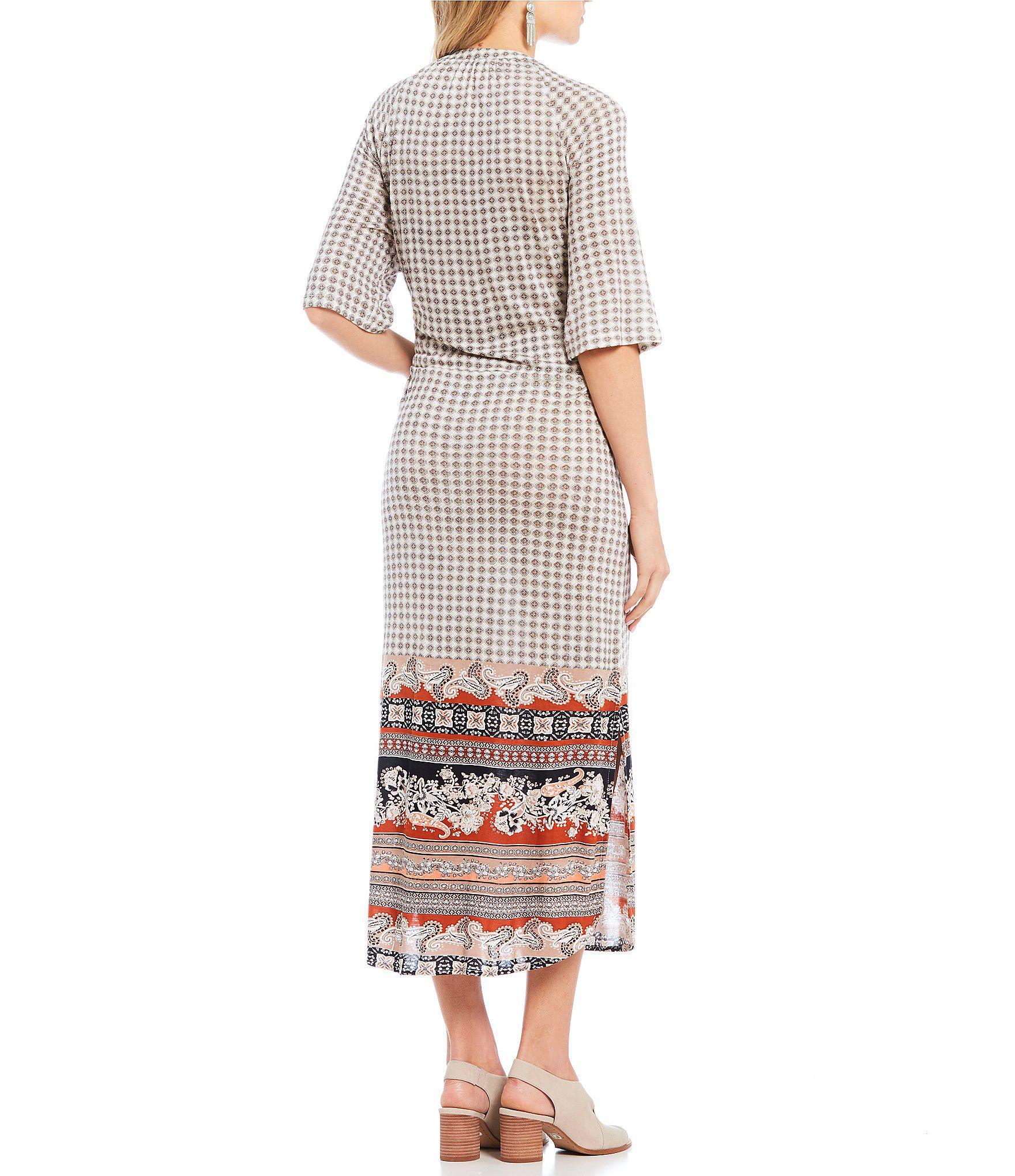 eb6b34224b Lyst - Patrons Of Peace Mixed Print Long Sleeve Midi Dress