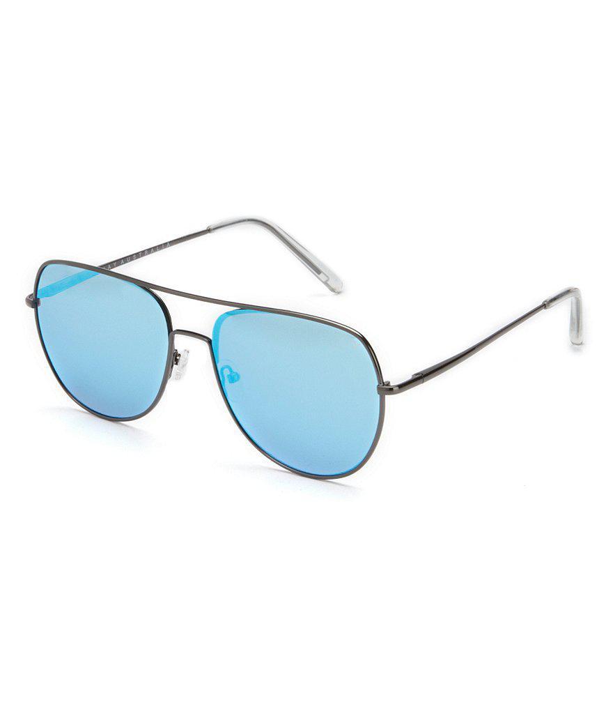 e55d41d0db Lyst - Quay Quay Living Large Mirrored Aviator Sunglasses in Blue