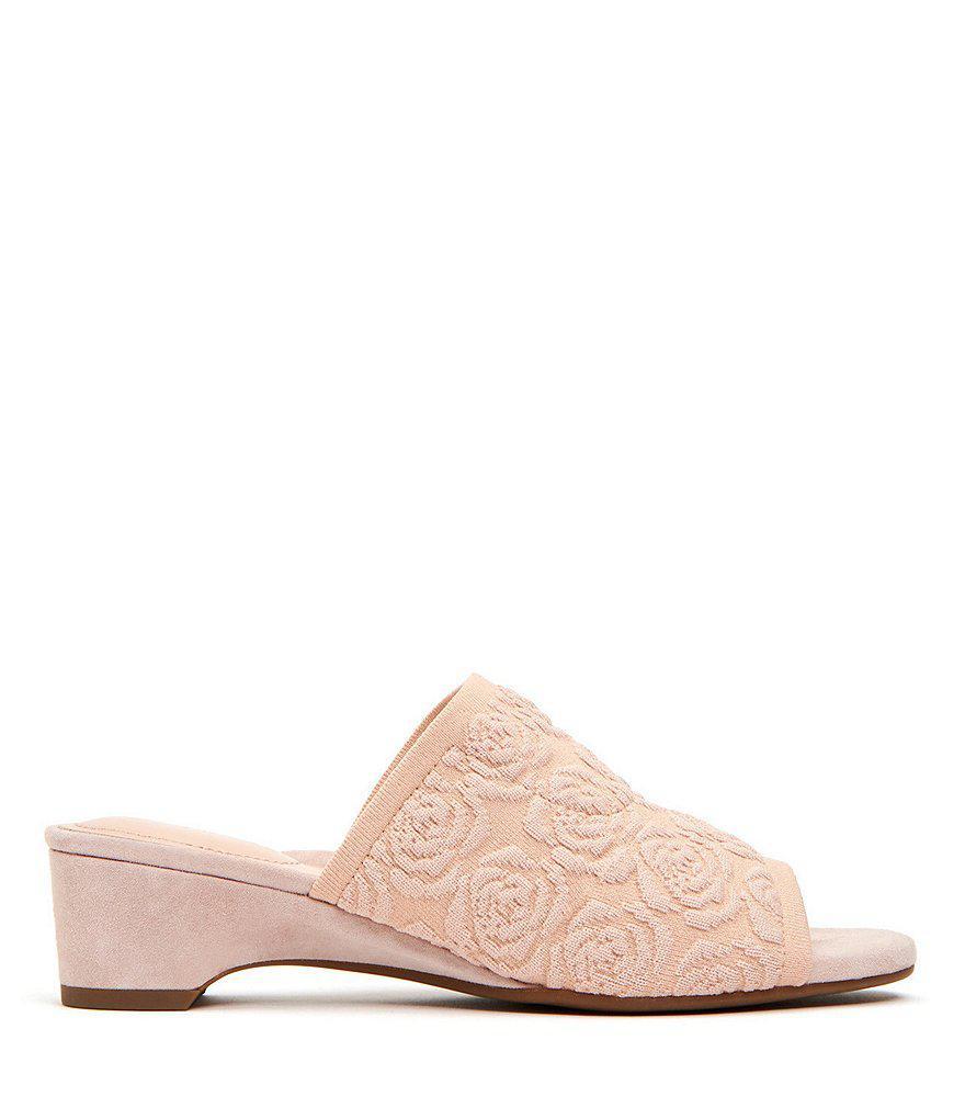 Nancy Knit Rose Embossed Block Heel Slide Sandals g6YzcSI1Bz