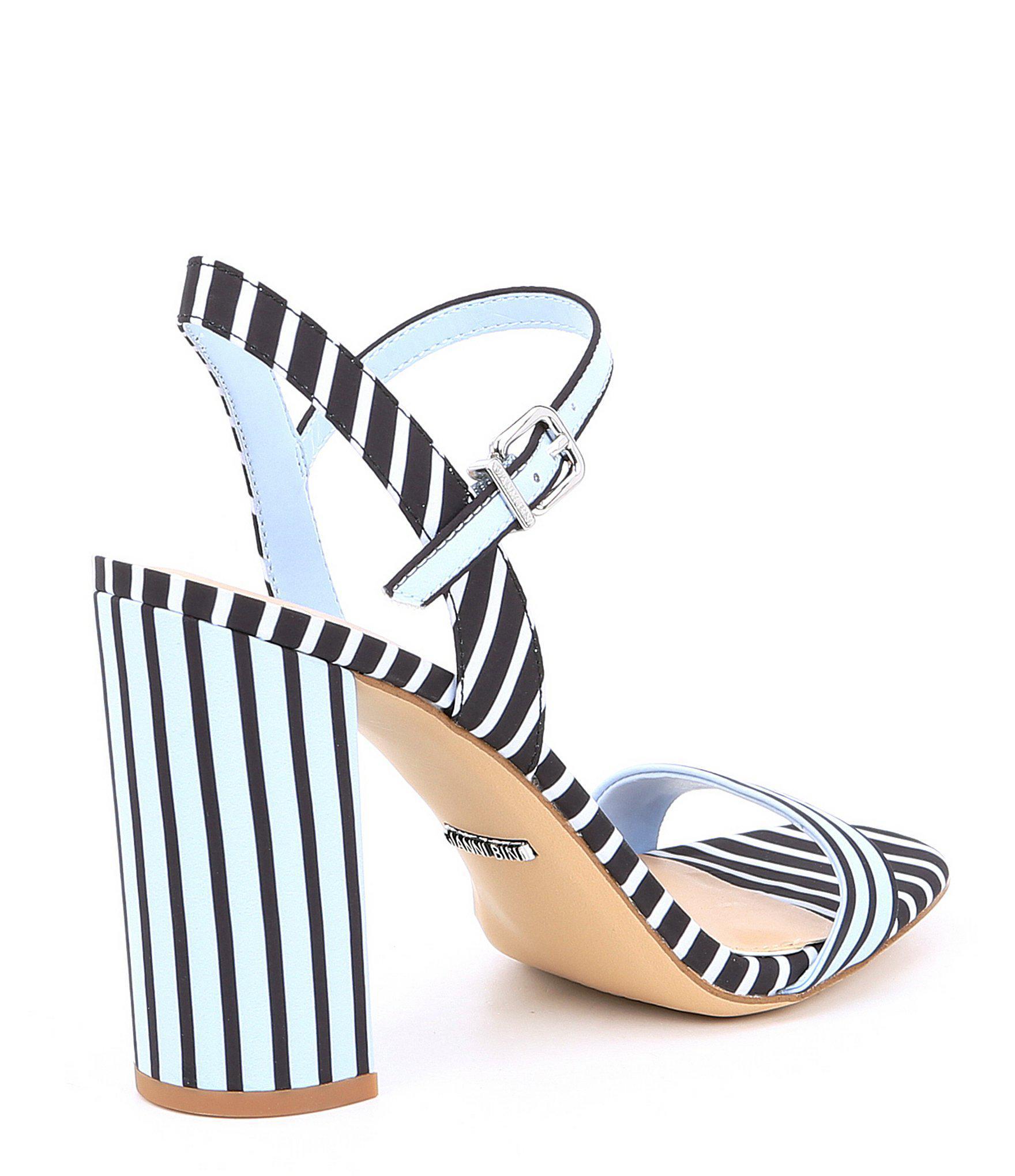 1261aad28bc6 Gianni Bini - Blue Mckaria Stripe Block Heel Sandals - Lyst. View fullscreen