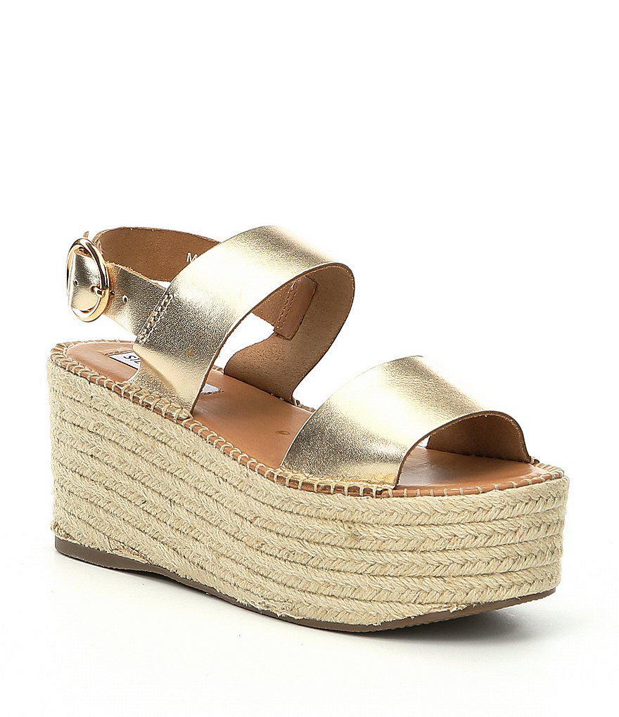 96be230248d Steve Madden Cali Metallic Espadrille Wedge Sandals in Metallic - Lyst