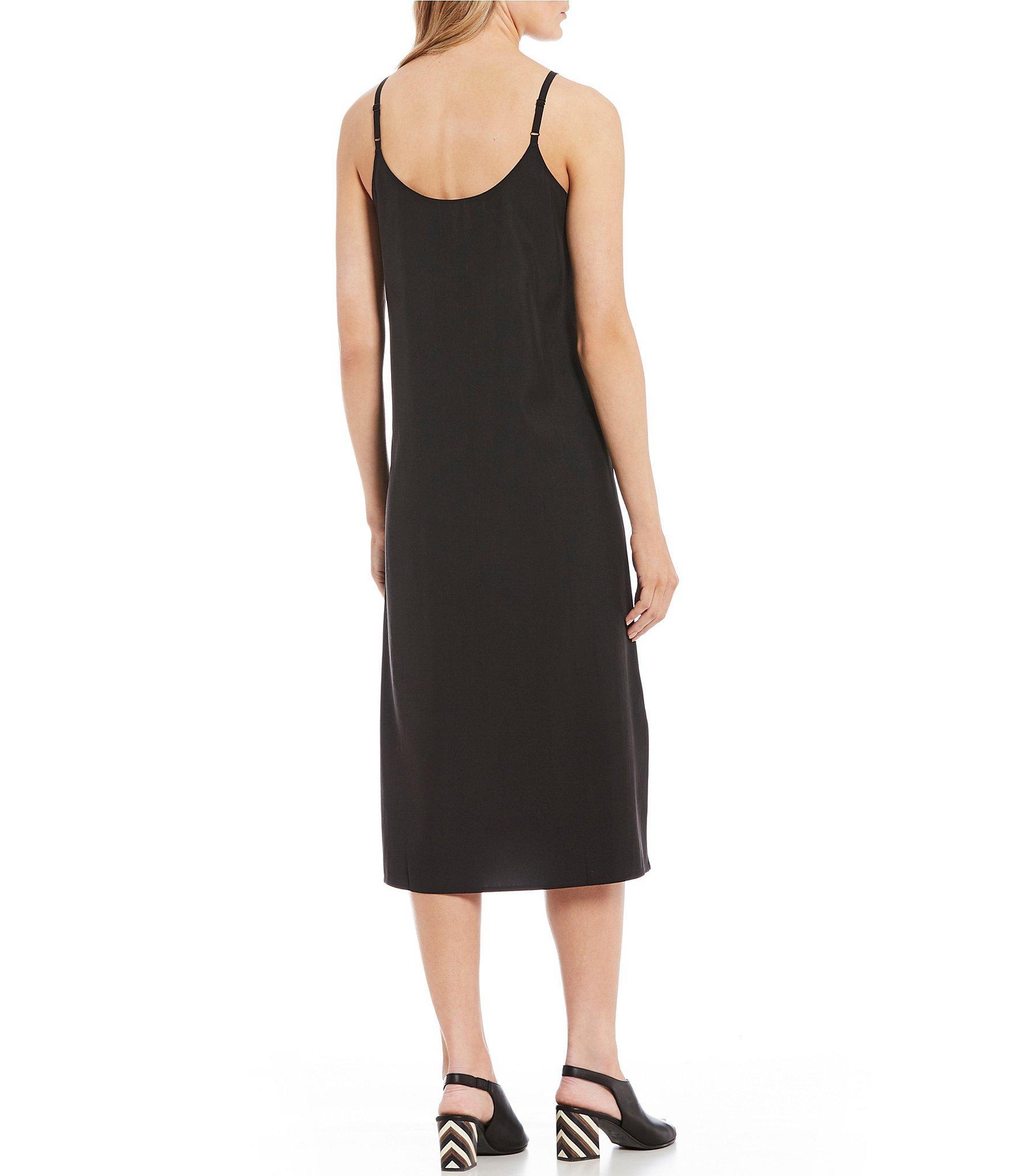 72af6cd54a9dbc Eileen Fisher - Black Cami Sleeveless Slit Midi Dress - Lyst. View  fullscreen