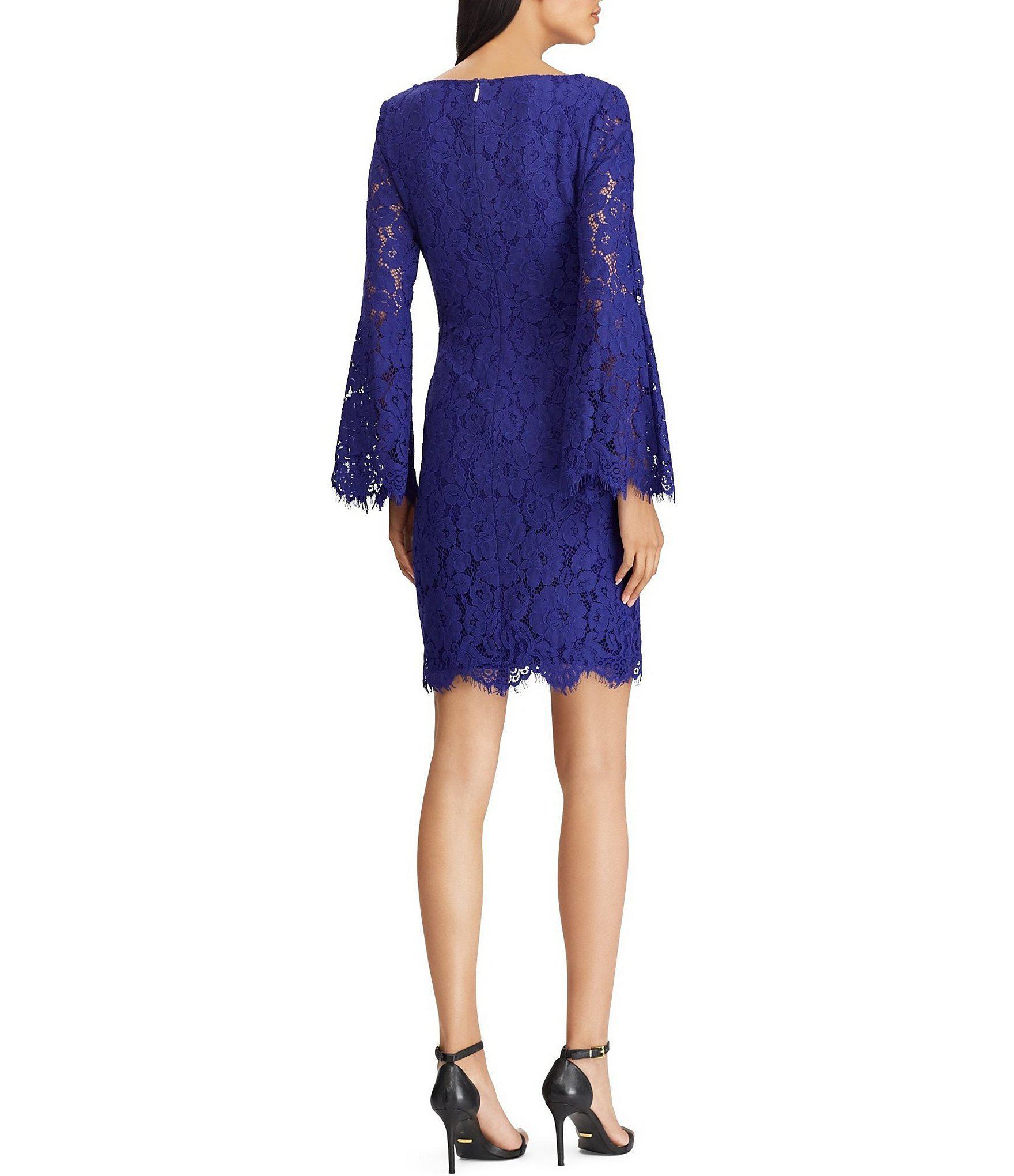 9d3ca934546 Lauren by Ralph Lauren - Blue Lace Bell Sleeve V-neck Sheath Dress - Lyst.  View fullscreen