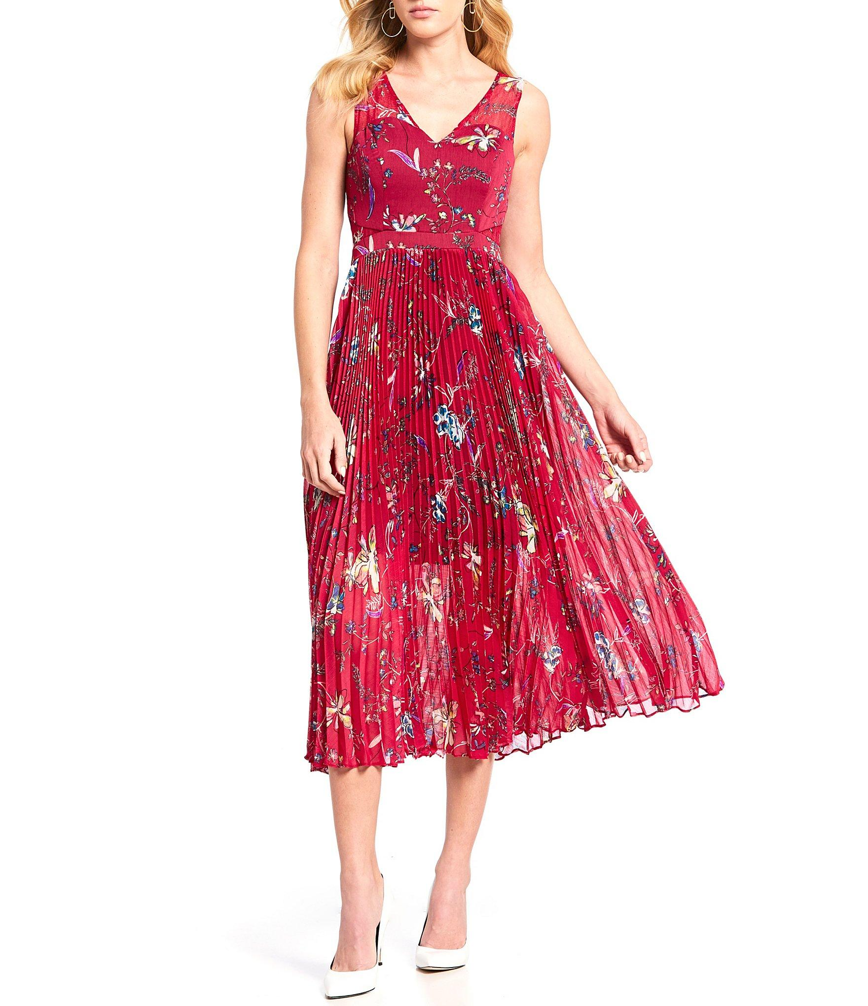 37a262d286 Guess - Red Floral Print Pleated Fit & Flare V-neck Chiffon Midi Dress -.  View fullscreen