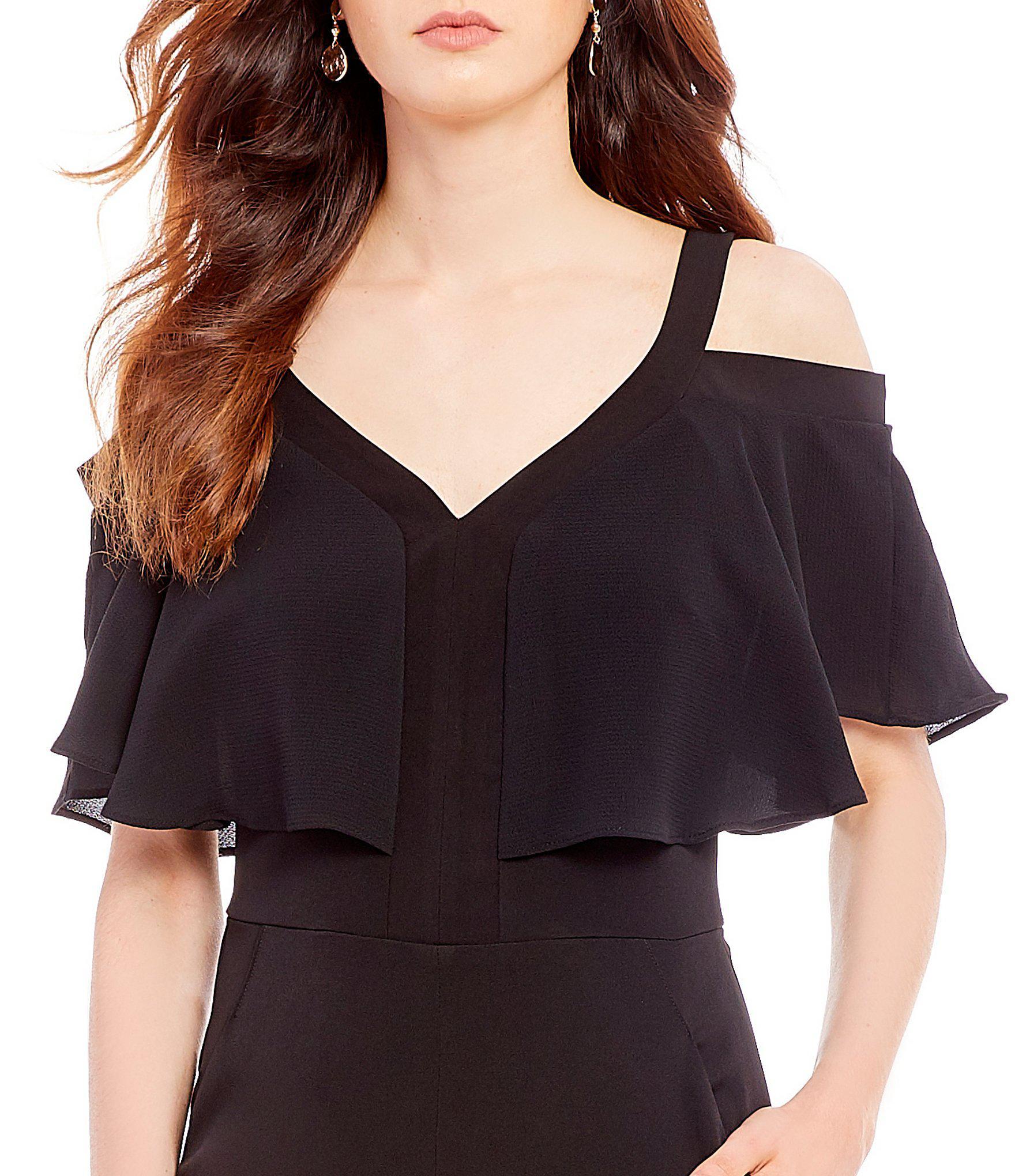 4107544de740 Lyst - Maggy London Cold Shoulder Ruffle Culotte Jumpsuit in Black