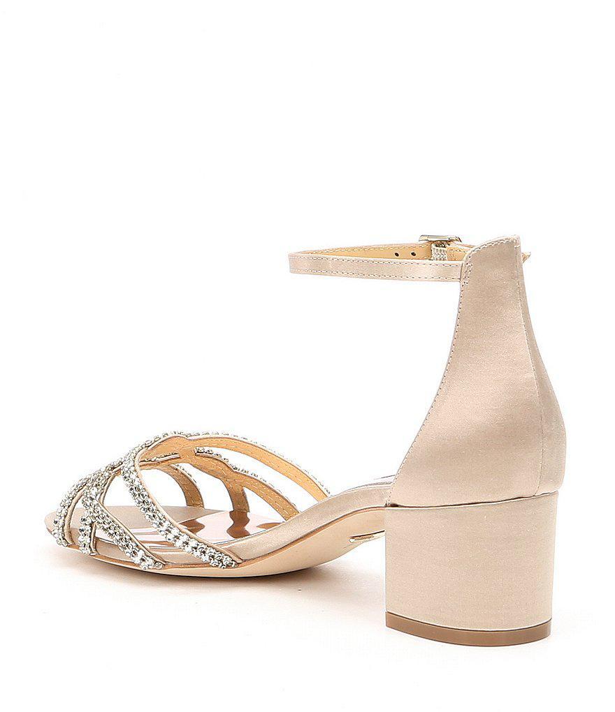 Badgley Mischka Sonya Satin Rhinestone Detail Ankle Strap Block Heel Dress Sandals yj4ZO0