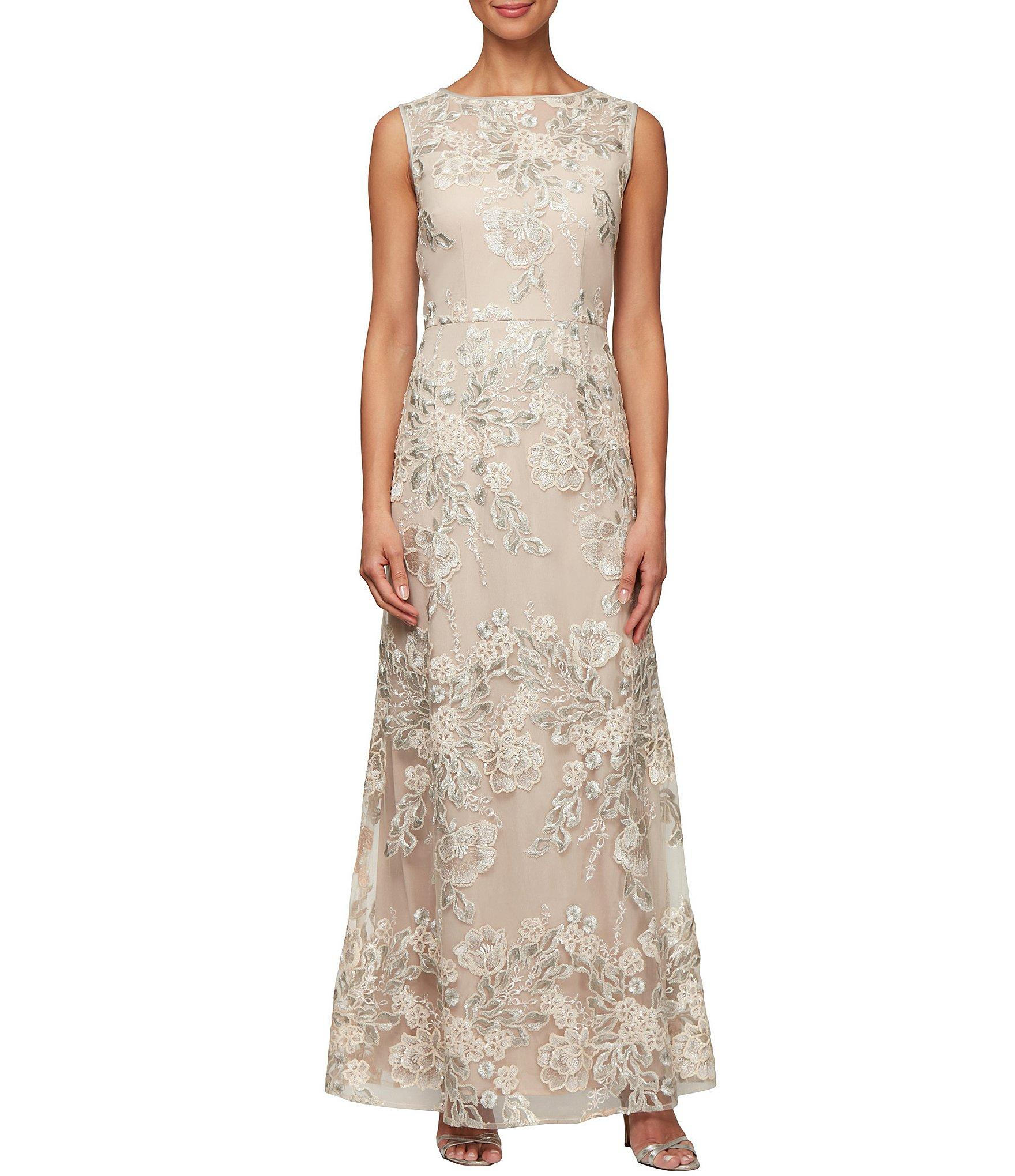 8b4d63c700 Alex Evenings. Women s Natural Floral Embroidered Sleeveless A-line Dress