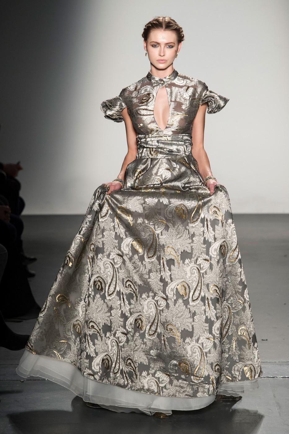 d5c2040d94ce6 Lyst - John Paul Ataker Ruffle Sleeve Gown in Metallic