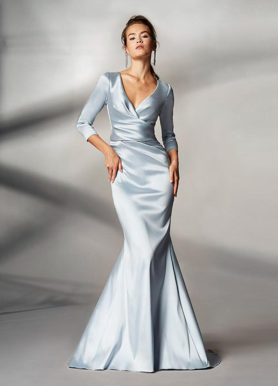 Lyst - Theia Couture Ice Blue Sleeve Trumpet Gown in Blue