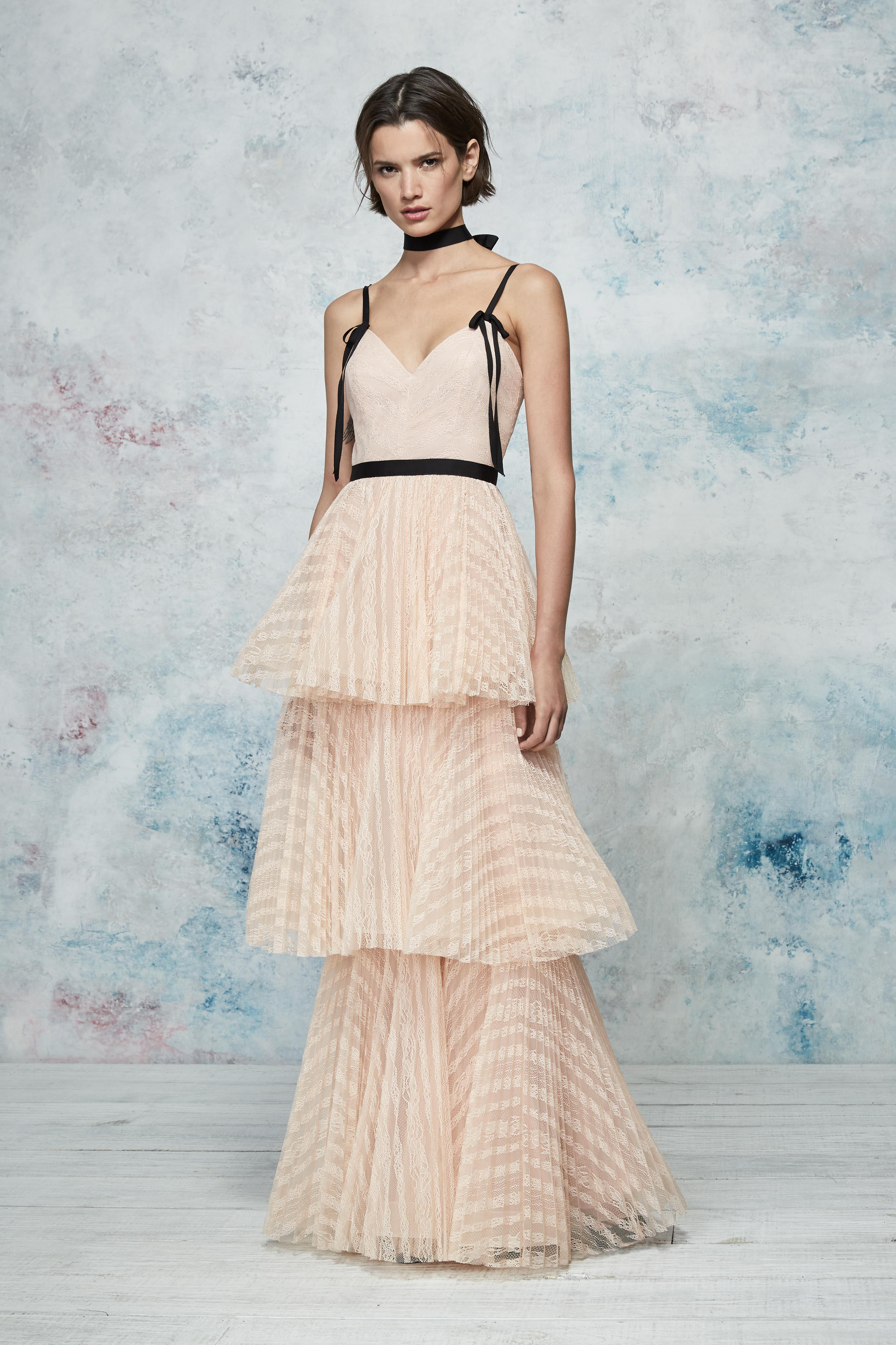 52c2fd97 Marchesa notte Sleeveless Striped Lace Tiered Gown in Natural - Lyst