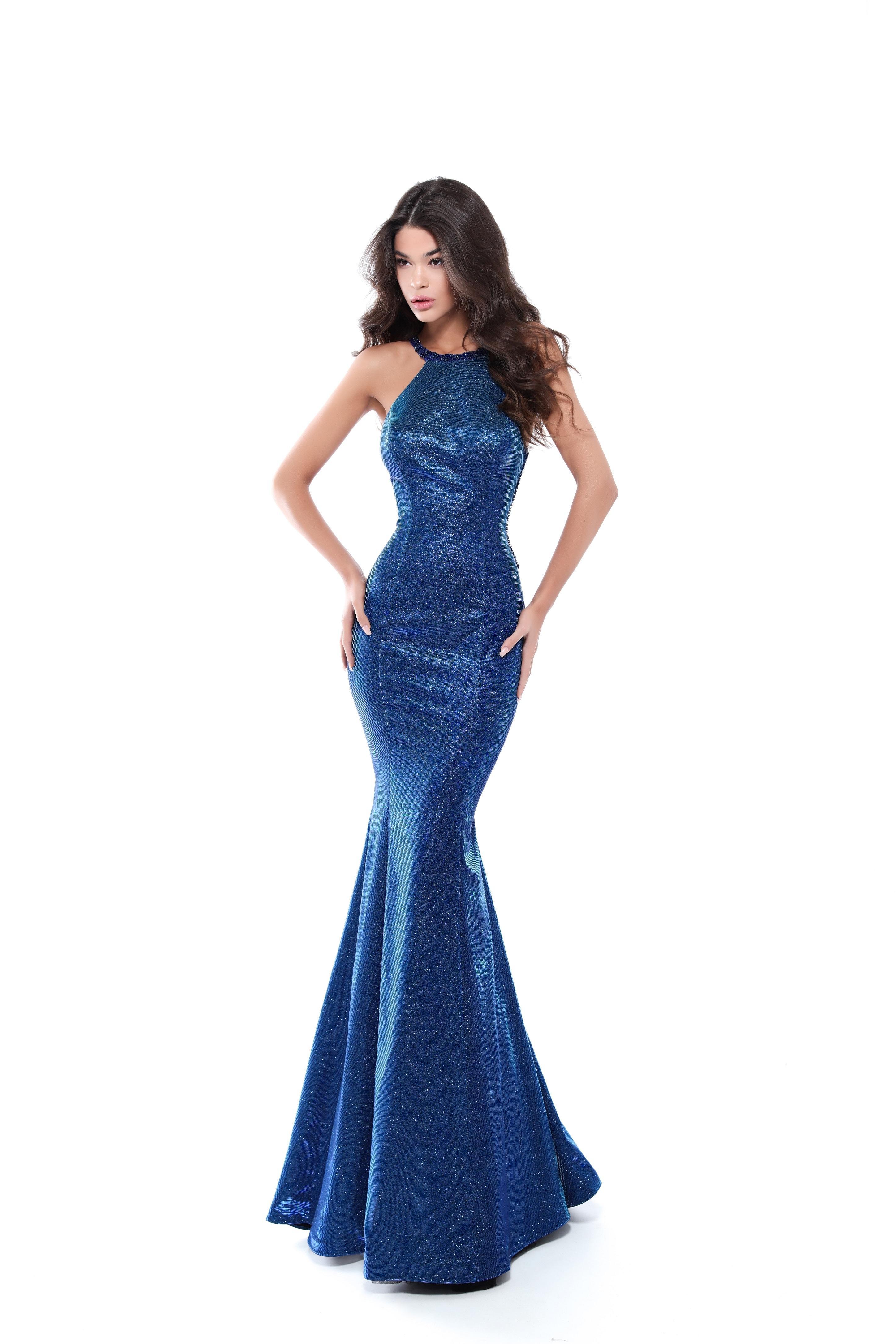 29b35533f9b Lyst - Tarik Ediz Sleeveless Glitter Alina Gown in Blue